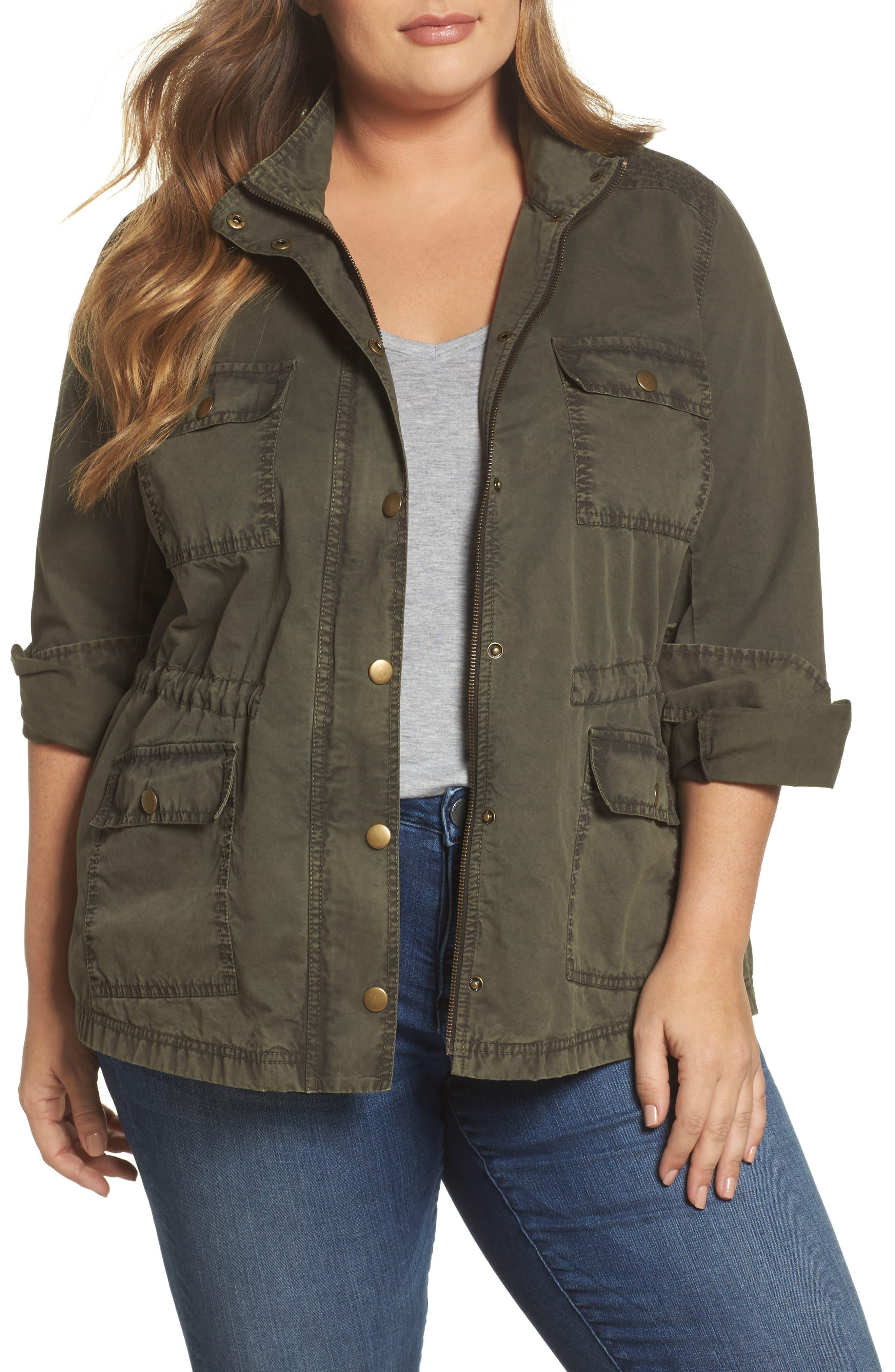 Caslon® Utility Jacket (Plus Size)