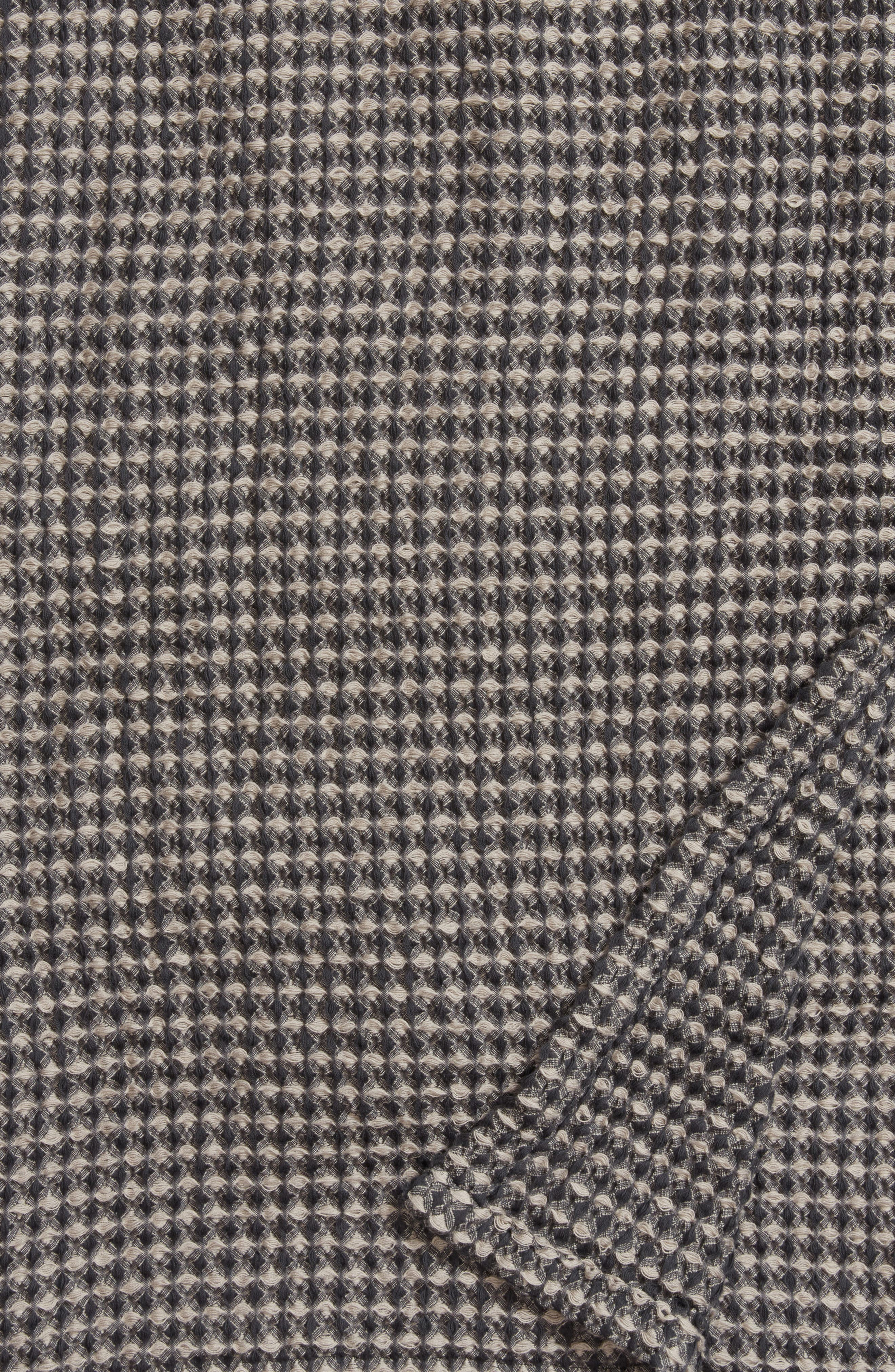 Waffle Knit Blanket,                             Alternate thumbnail 2, color,                             Grey Onyx