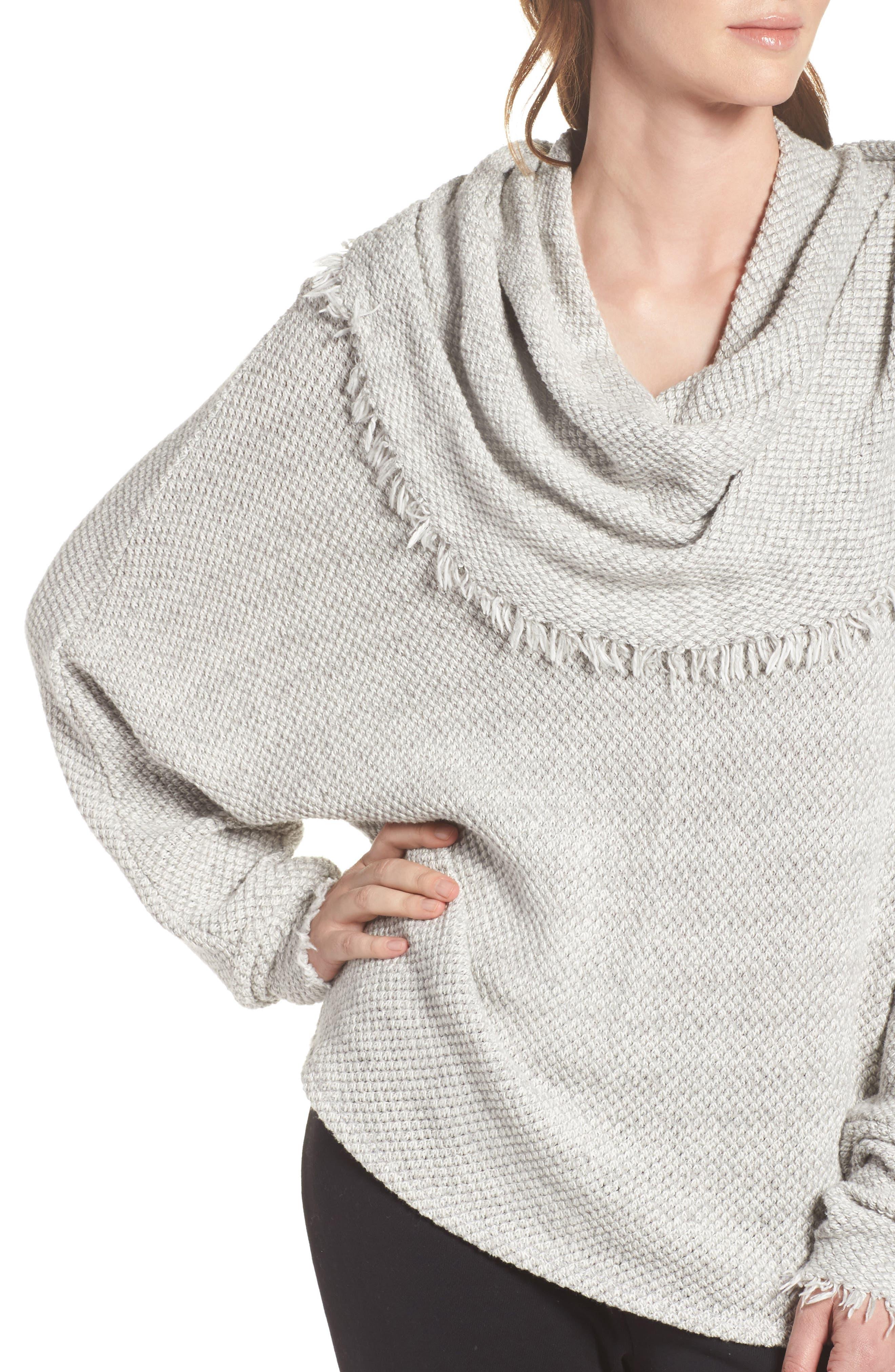 Oversize Turtleneck Sweater,                             Alternate thumbnail 4, color,                             Heather Grey