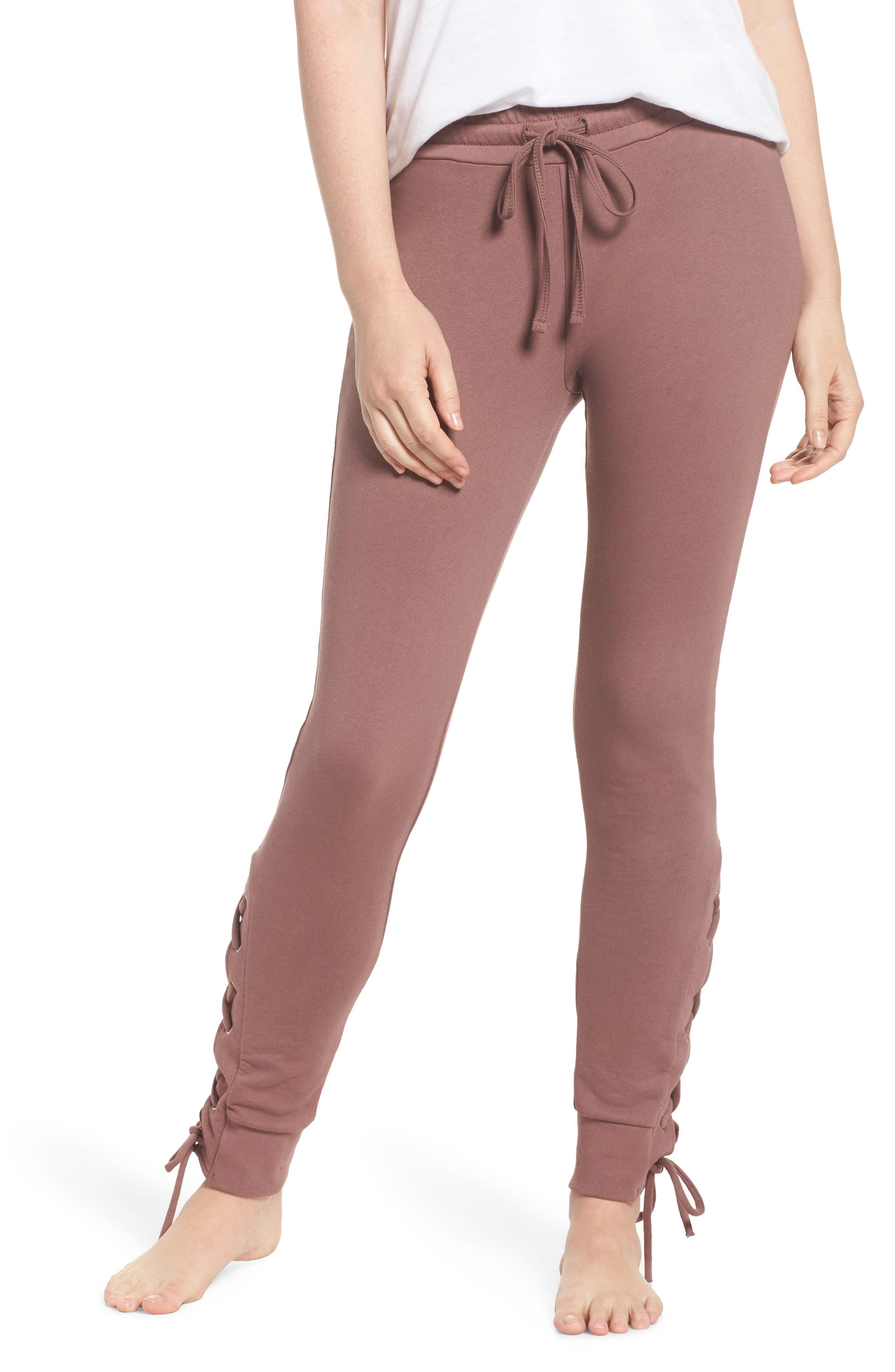Lace Up Lounge Pants,                             Main thumbnail 1, color,                             Deep Mauve