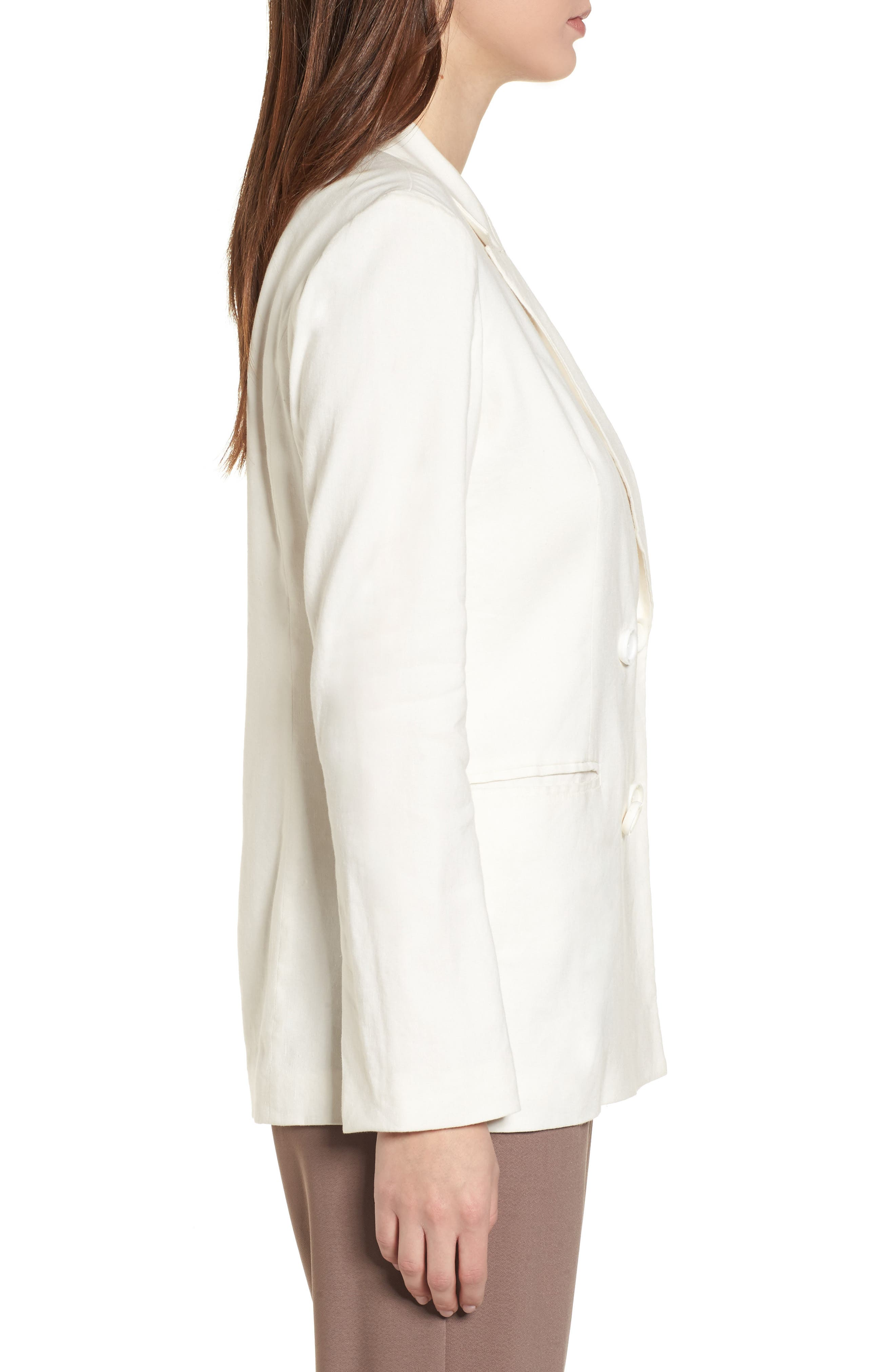 Double Breasted Linen Blend Blazer,                             Alternate thumbnail 4, color,                             Ivory