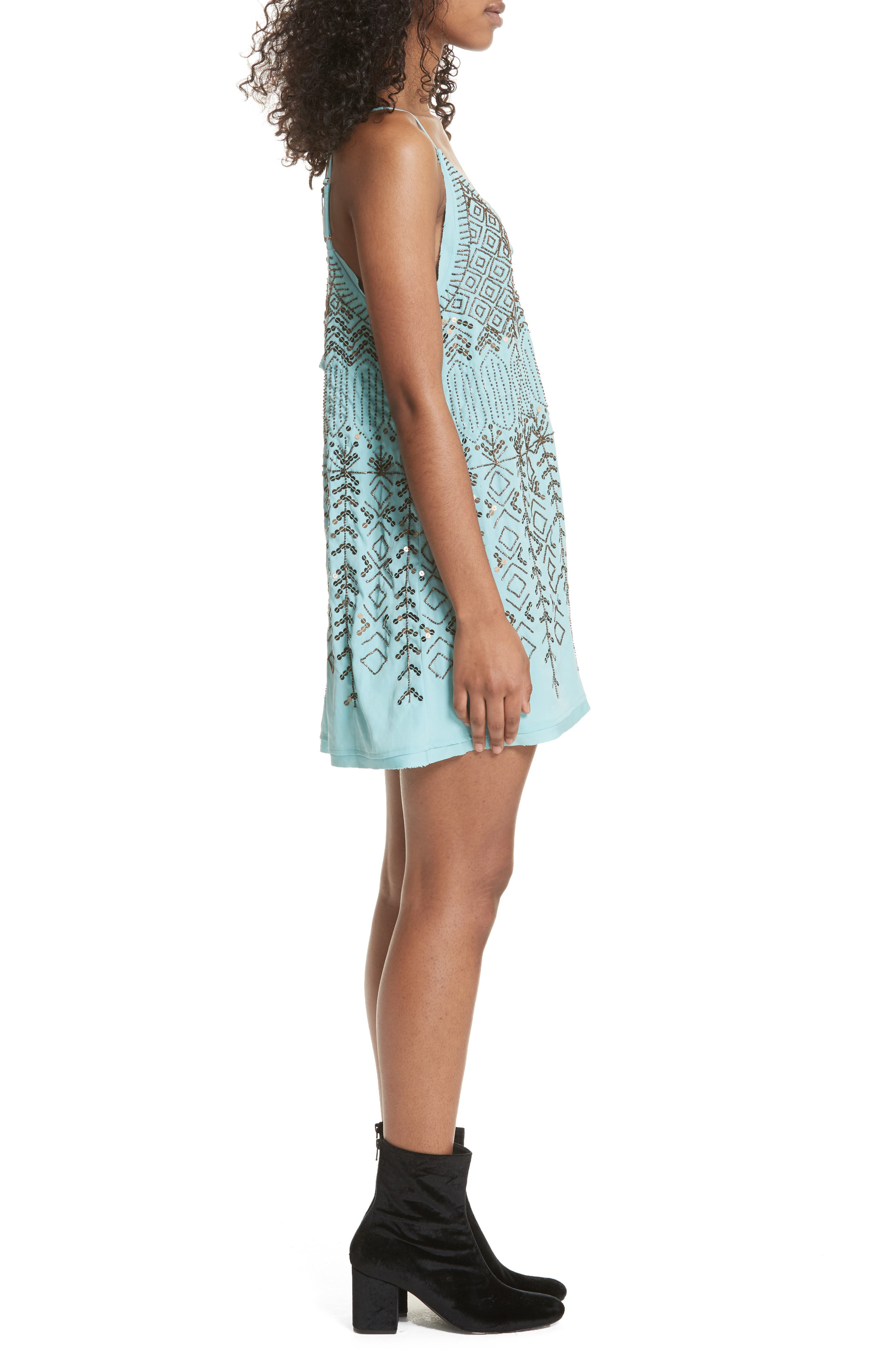 Arizona Nights Mini Slipdress,                             Alternate thumbnail 3, color,                             Mint