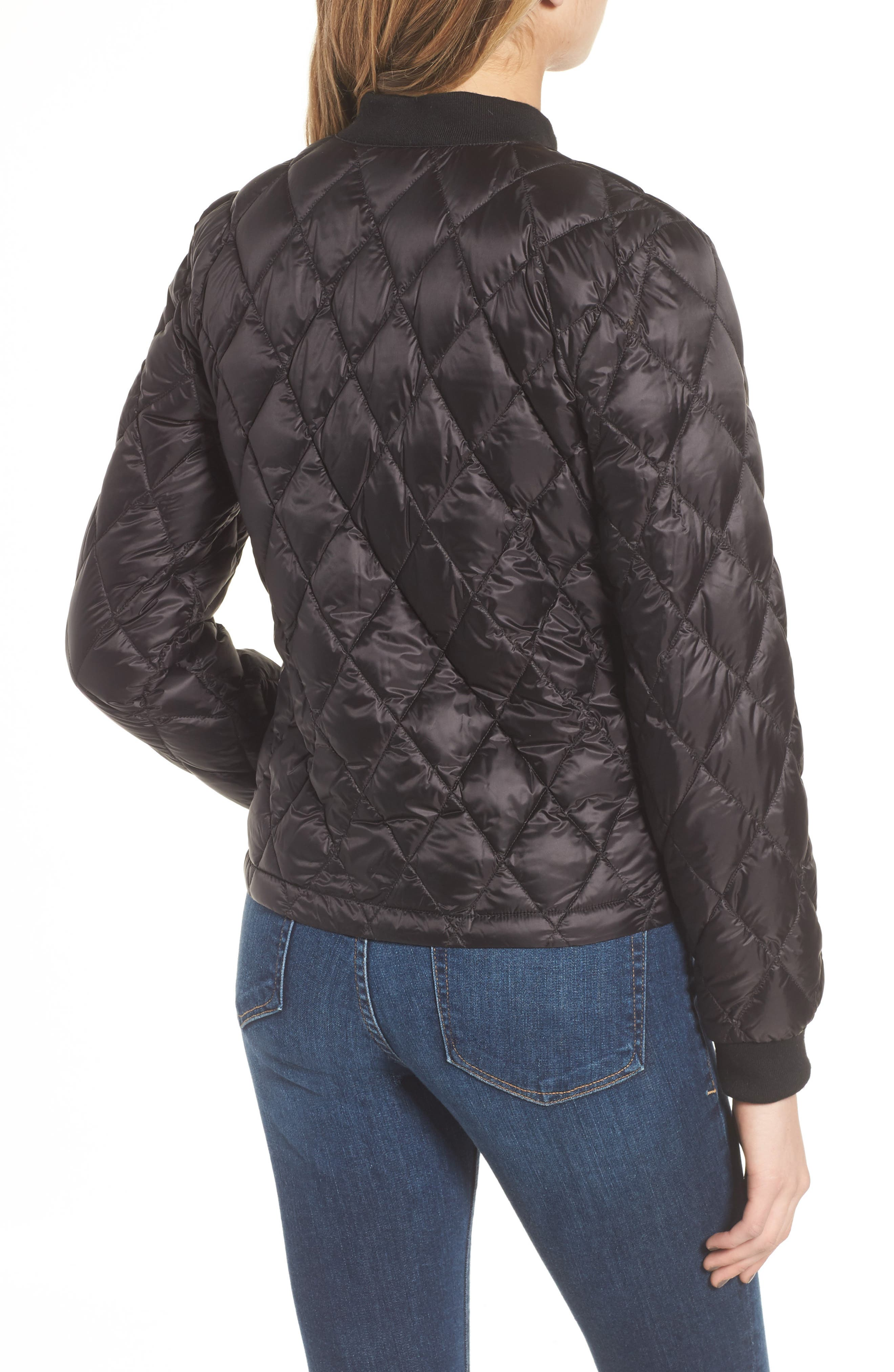 Quilted Down Bomber Jacket,                             Alternate thumbnail 2, color,                             Black