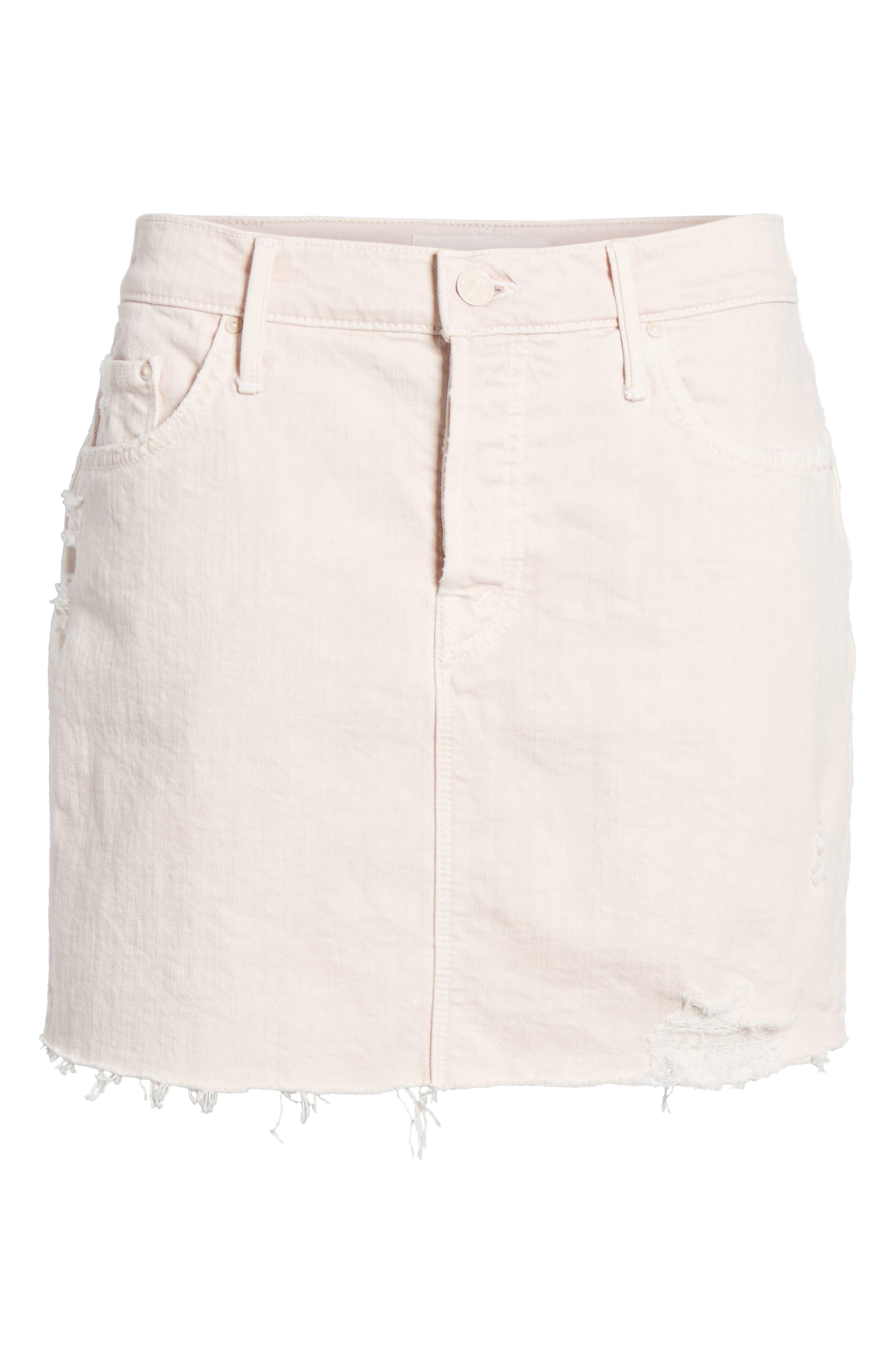 The Vagabond Cutoff Denim Miniskirt,                             Alternate thumbnail 6, color,                             Soft Pink