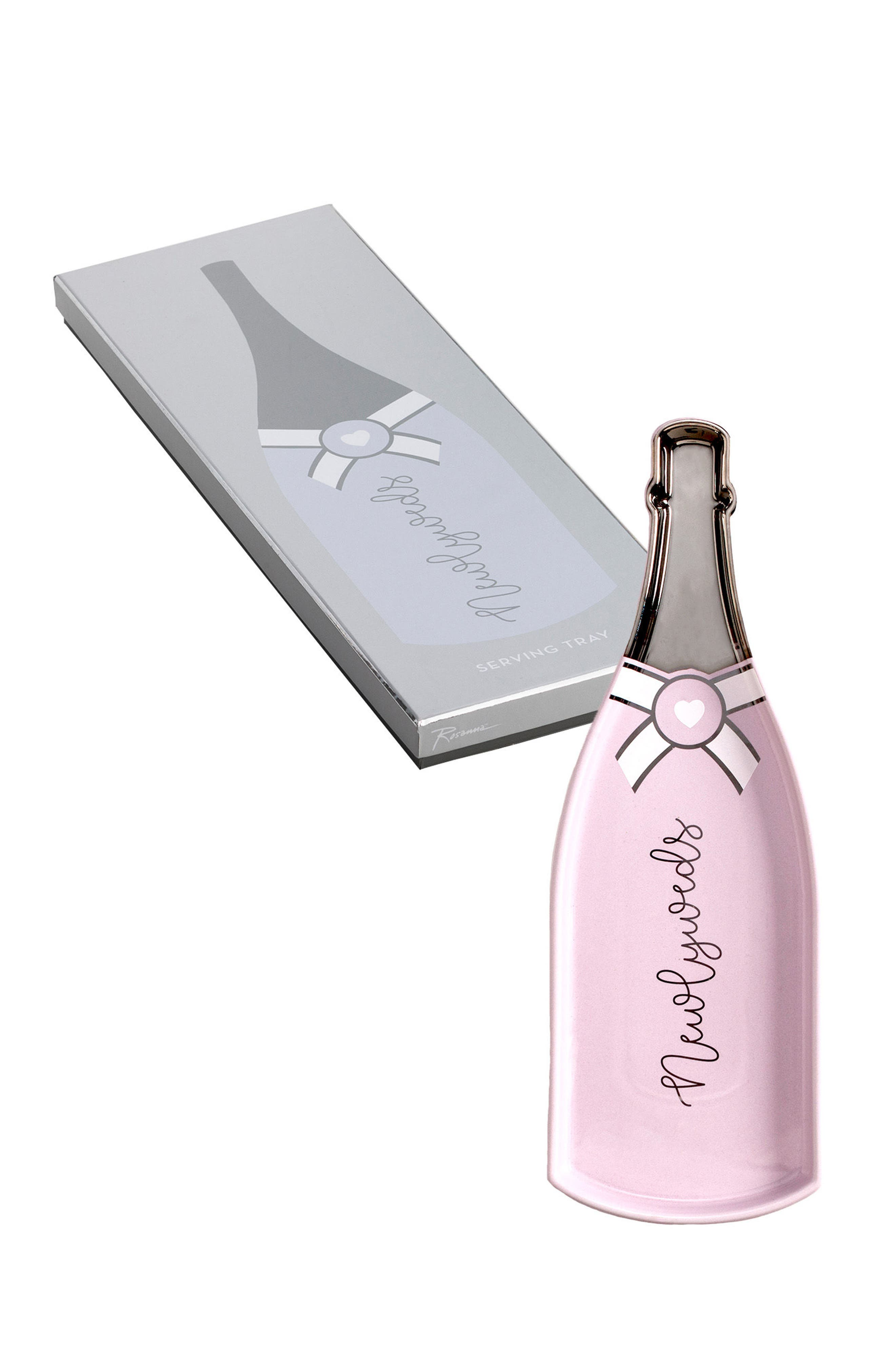 Newlyweds Champagne Bottle Tray,                             Main thumbnail 1, color,                             White Multi