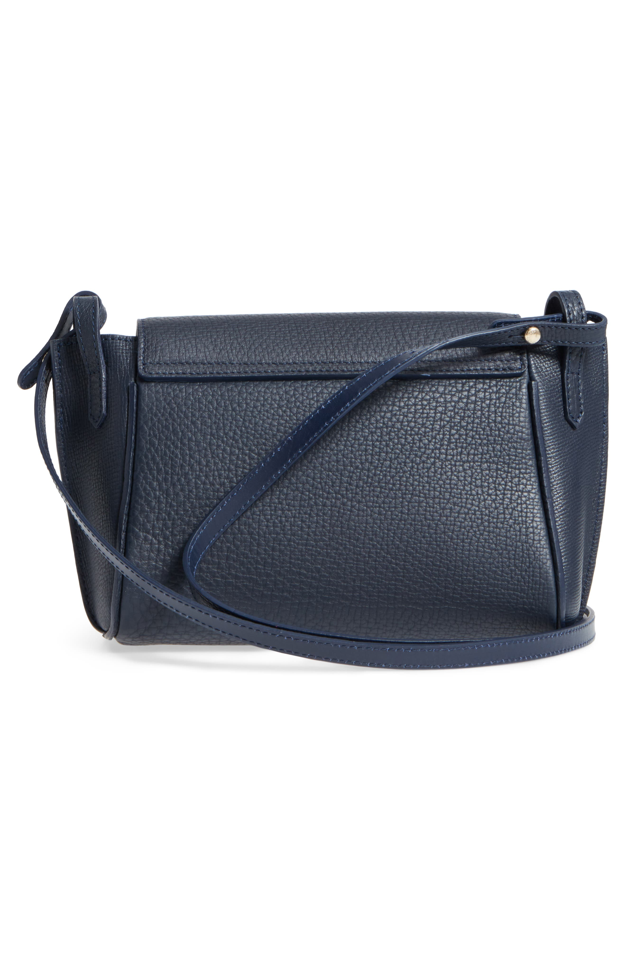 Penelope Leather Crossbody,                             Alternate thumbnail 3, color,                             Midnight