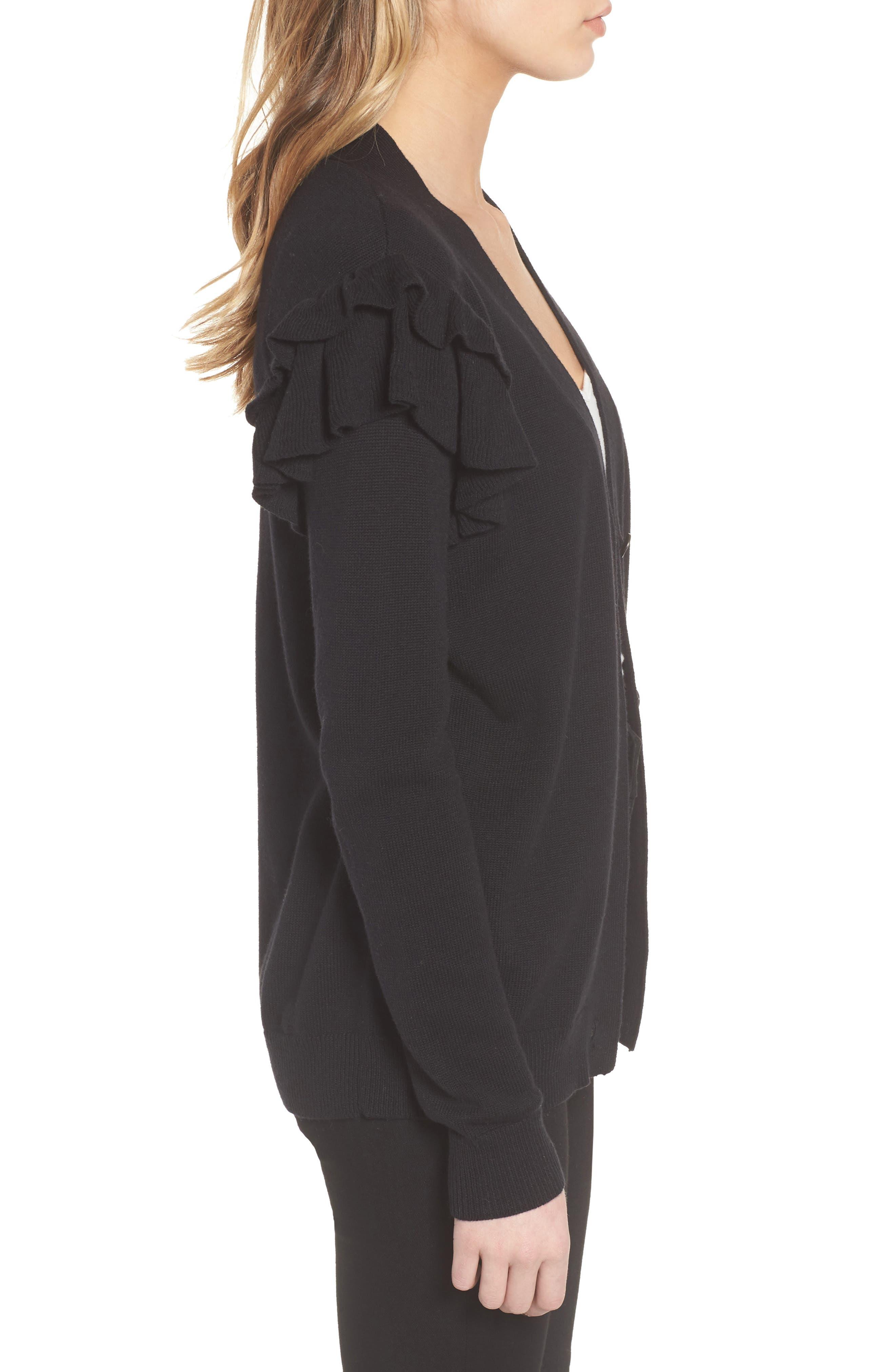 Ruffle Sleeve Cardigan,                             Alternate thumbnail 3, color,                             Black