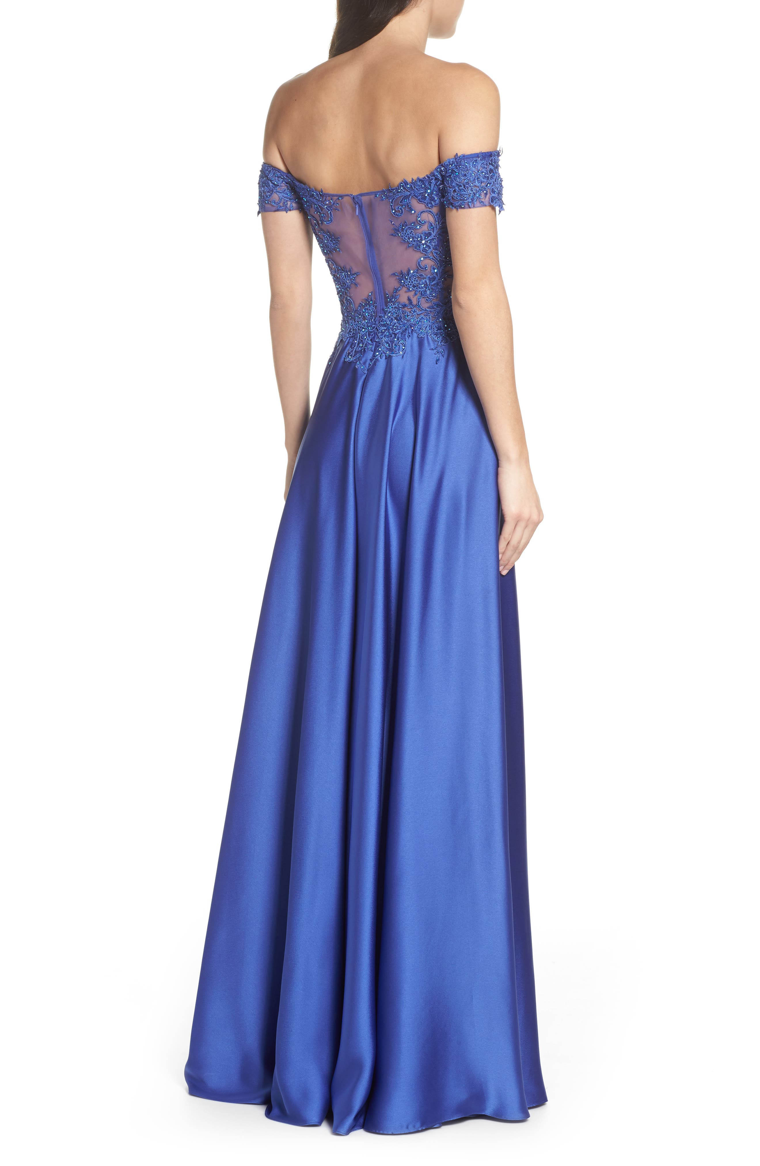 Embroidered Off the Shoulder Satin A-Line Gown,                             Alternate thumbnail 2, color,                             Dark Periwinkle