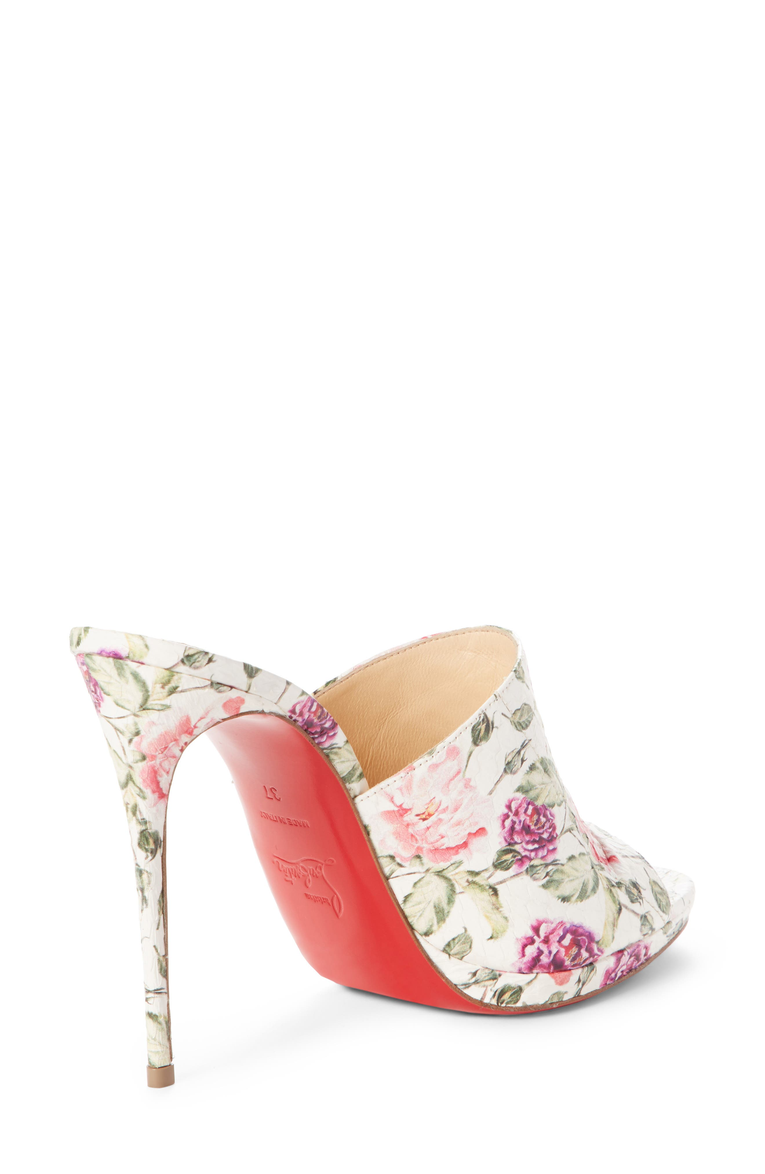 Floral Pigalle Genuine Snakeskin Mule,                             Alternate thumbnail 2, color,                             Latte/ Floral Print