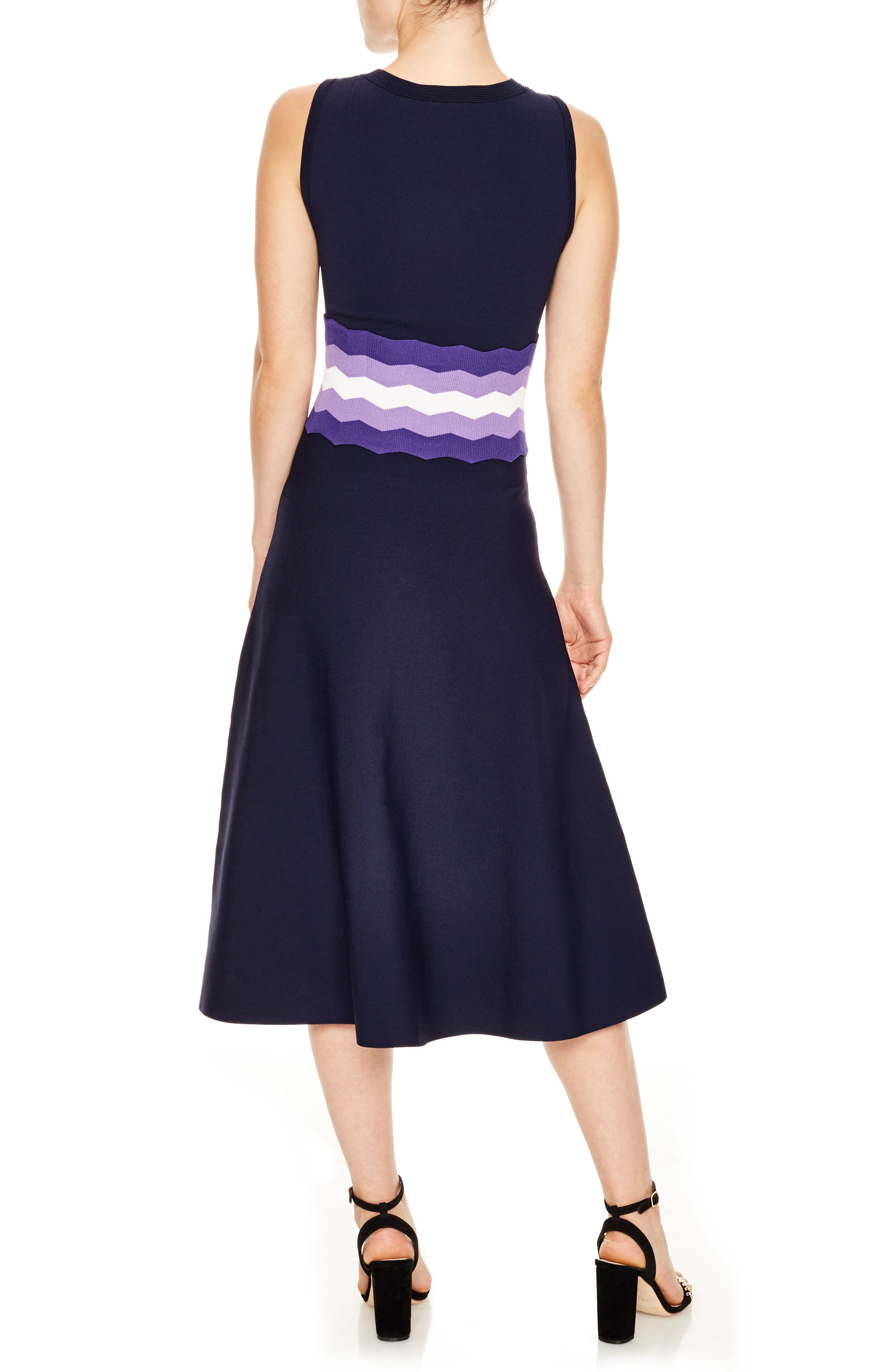 Belted Knit Midi Dress,                             Alternate thumbnail 2, color,                             Navy Blue