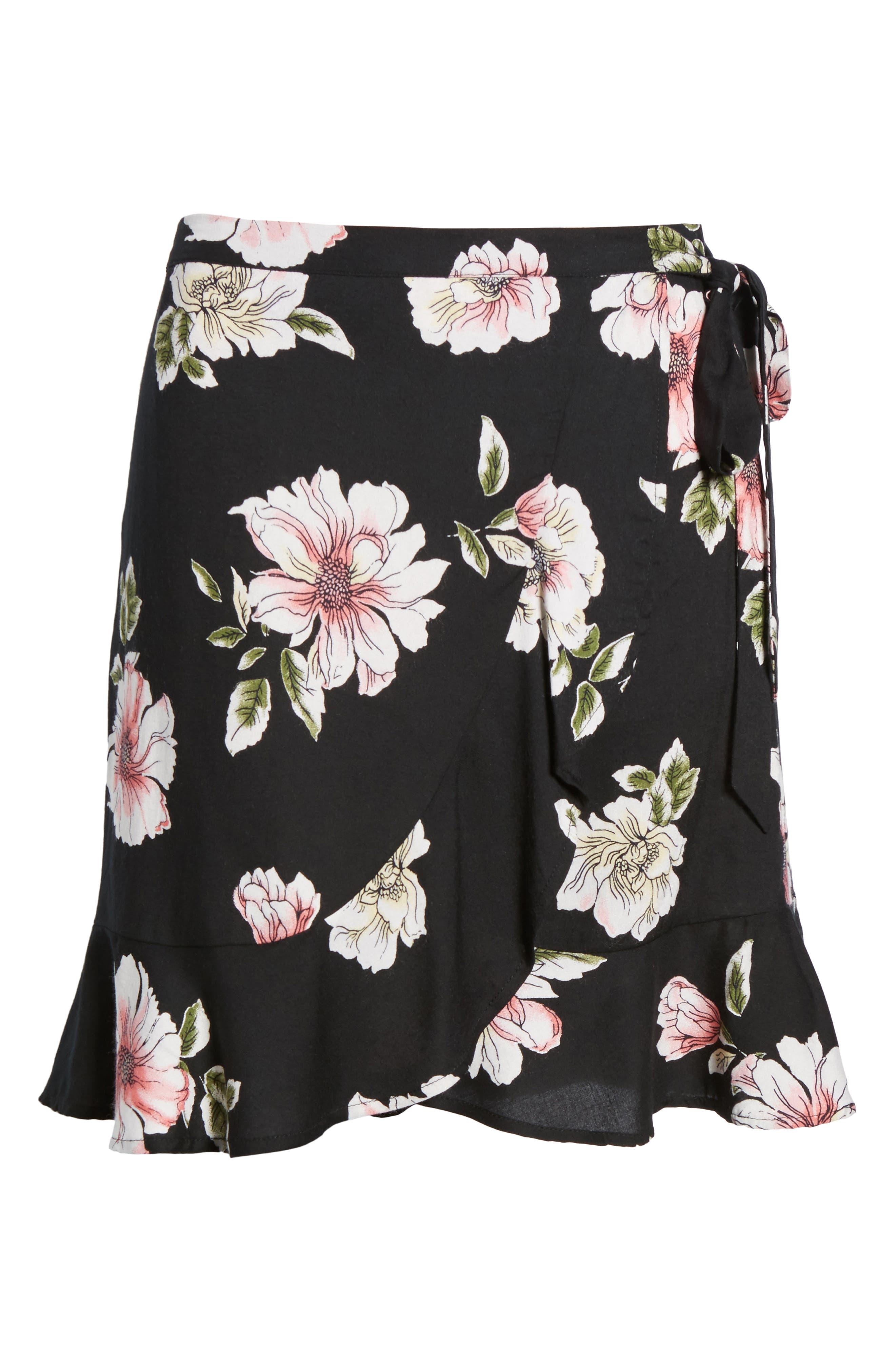 Hibiscus Faux Wrap Mini Skirt,                             Alternate thumbnail 7, color,                             Black/ Dusty Coral