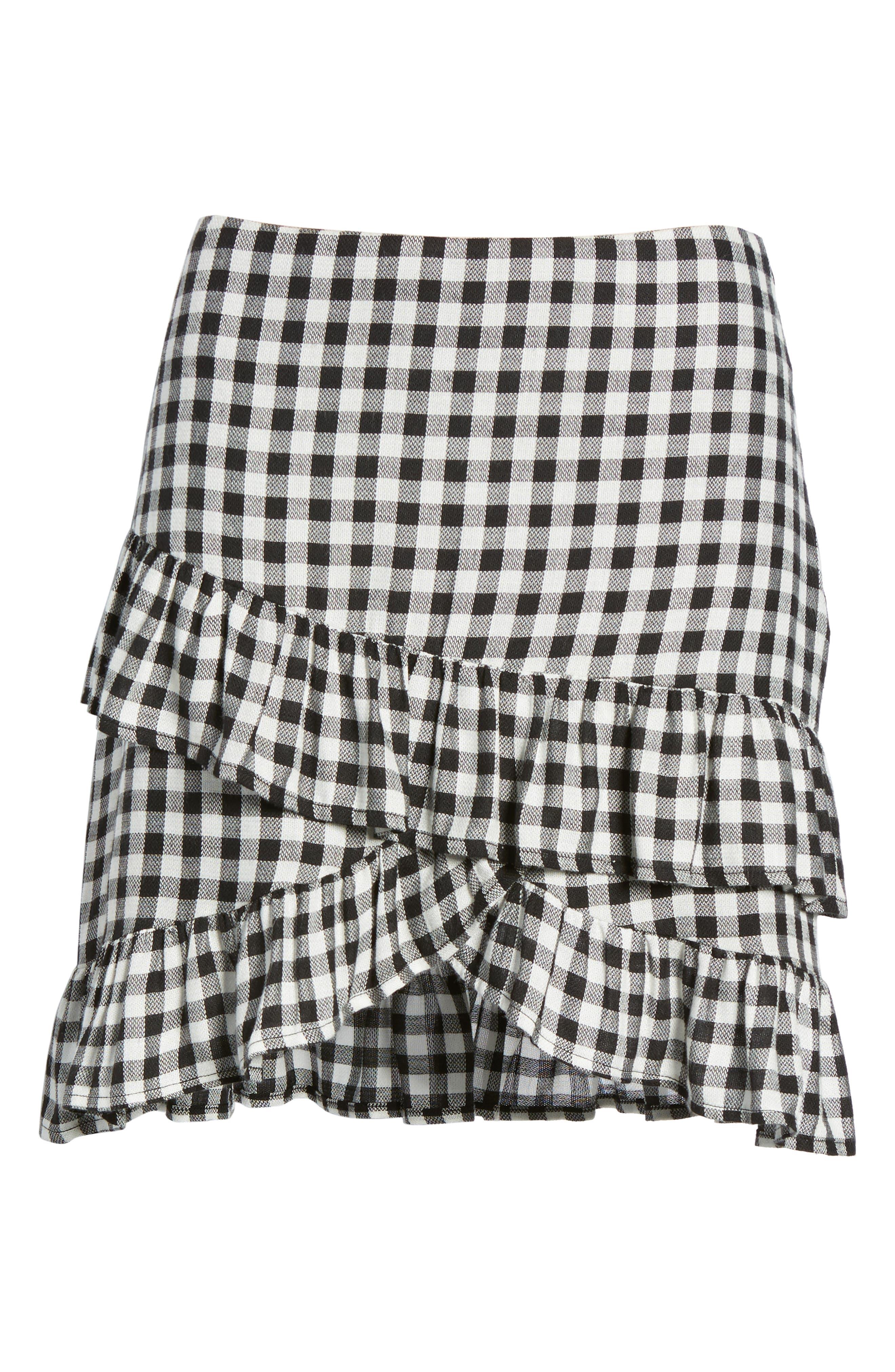Day Trip Gingham Ruffle Skirt,                             Alternate thumbnail 7, color,                             Black