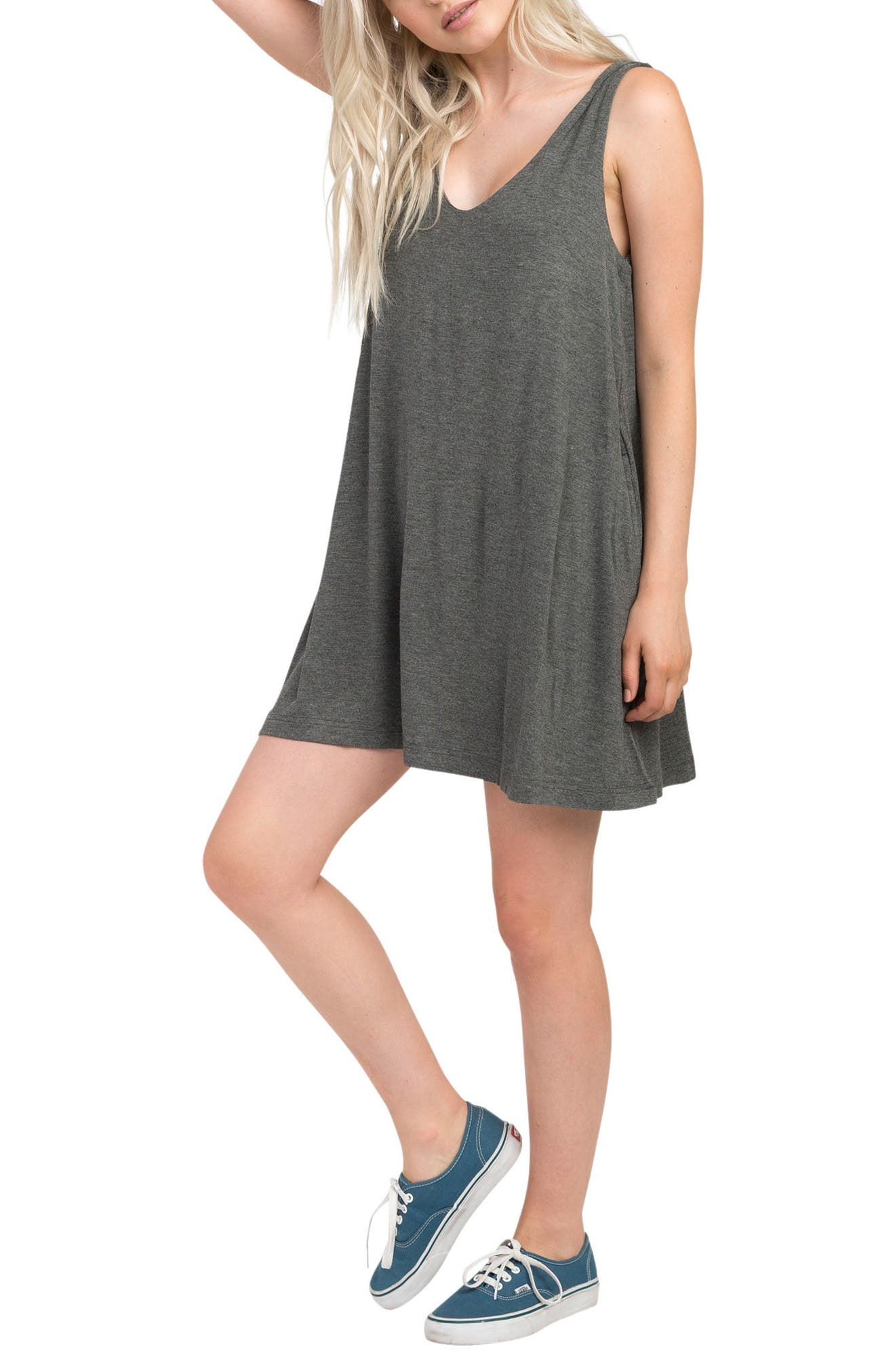 Chances Swing Dress,                             Alternate thumbnail 3, color,                             Charcoal Heather