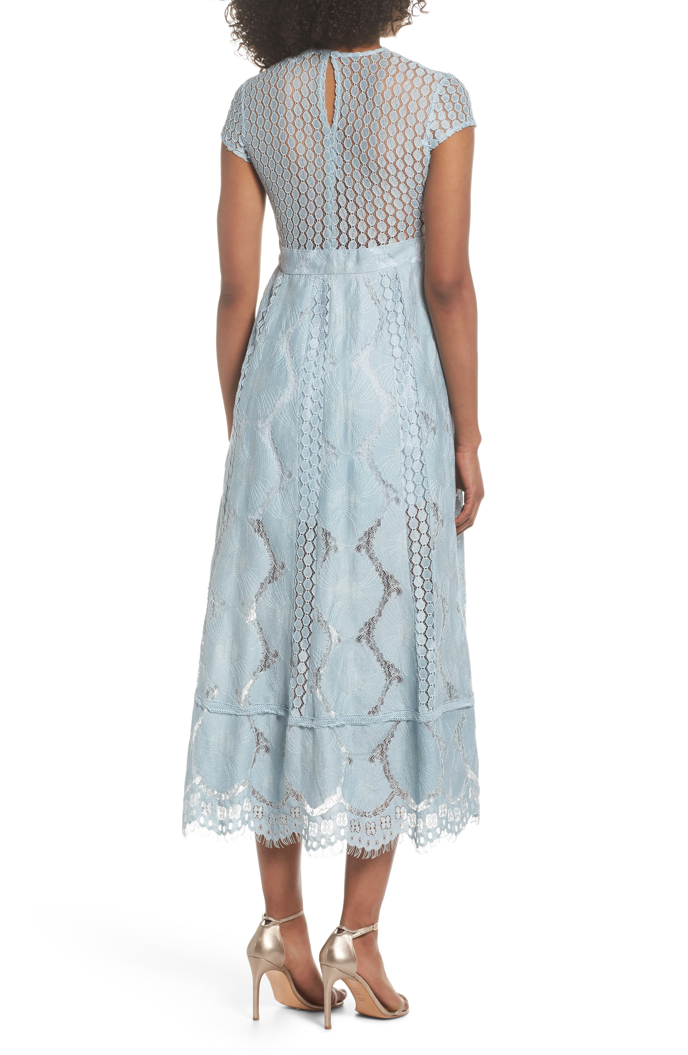 Theodora Lace Midi Dress,                             Alternate thumbnail 2, color,                             Bluebell