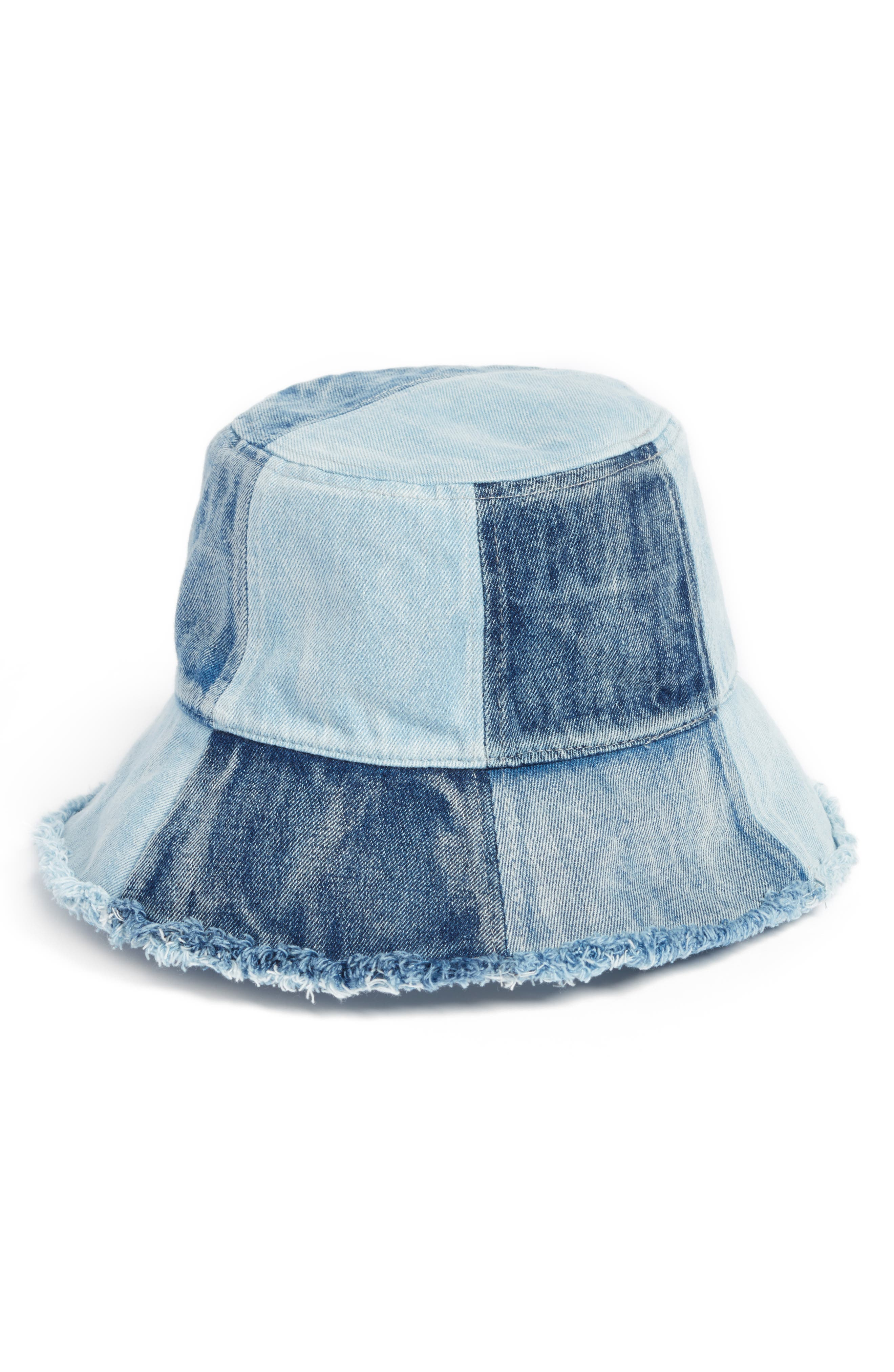 PATCHED DENIM BUCKET HAT - BLUE