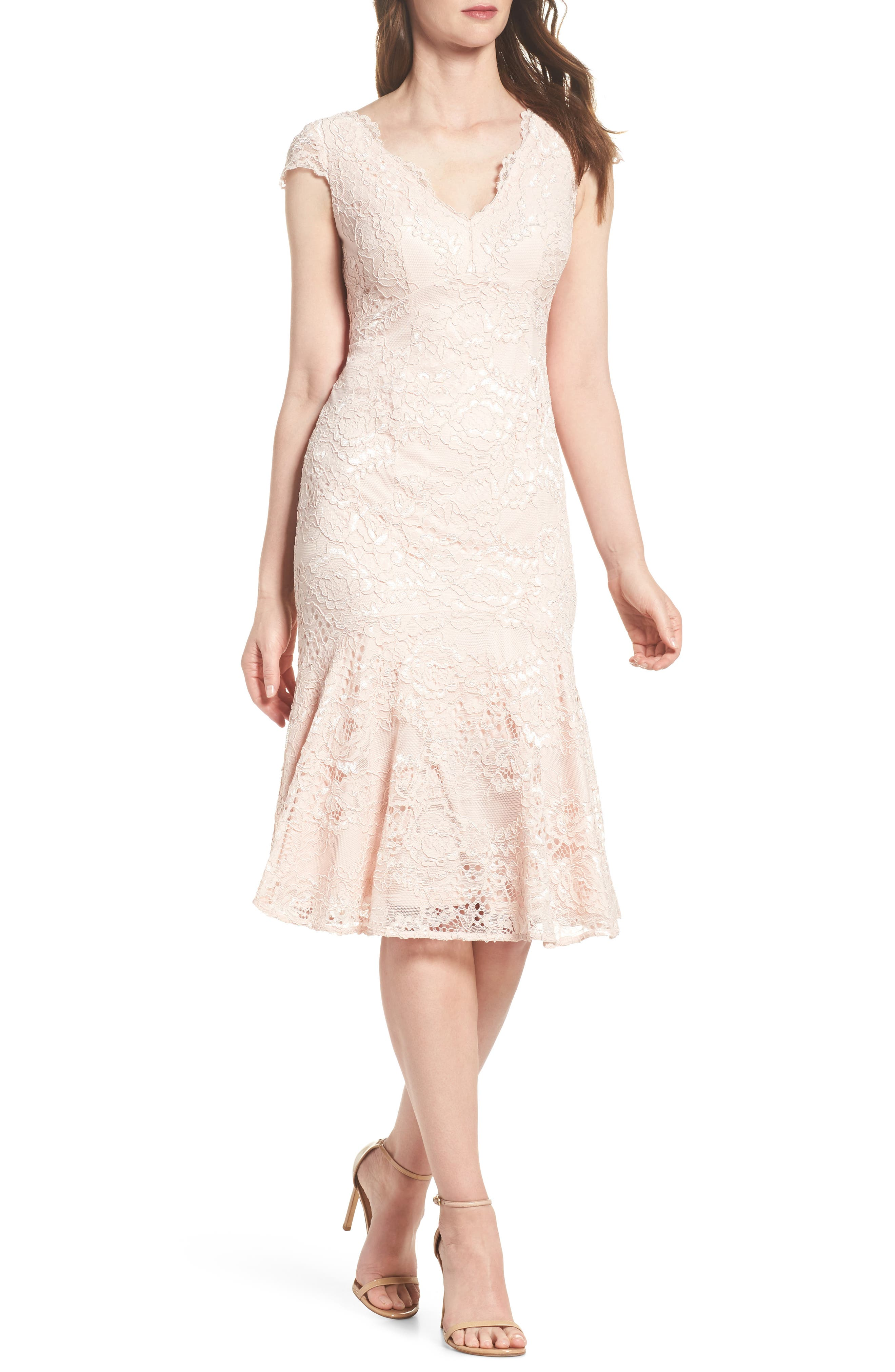 Flounce Hem Lace Dress,                             Main thumbnail 1, color,                             Blush