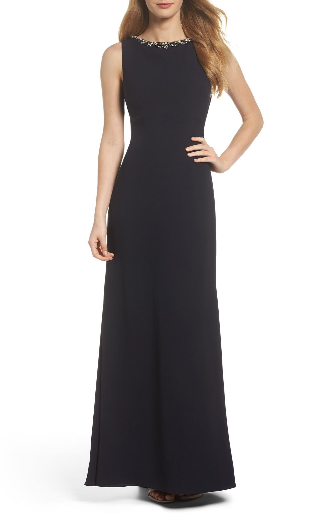 Embellished Ruffle Back Crepe Gown,                             Main thumbnail 1, color,                             Navy
