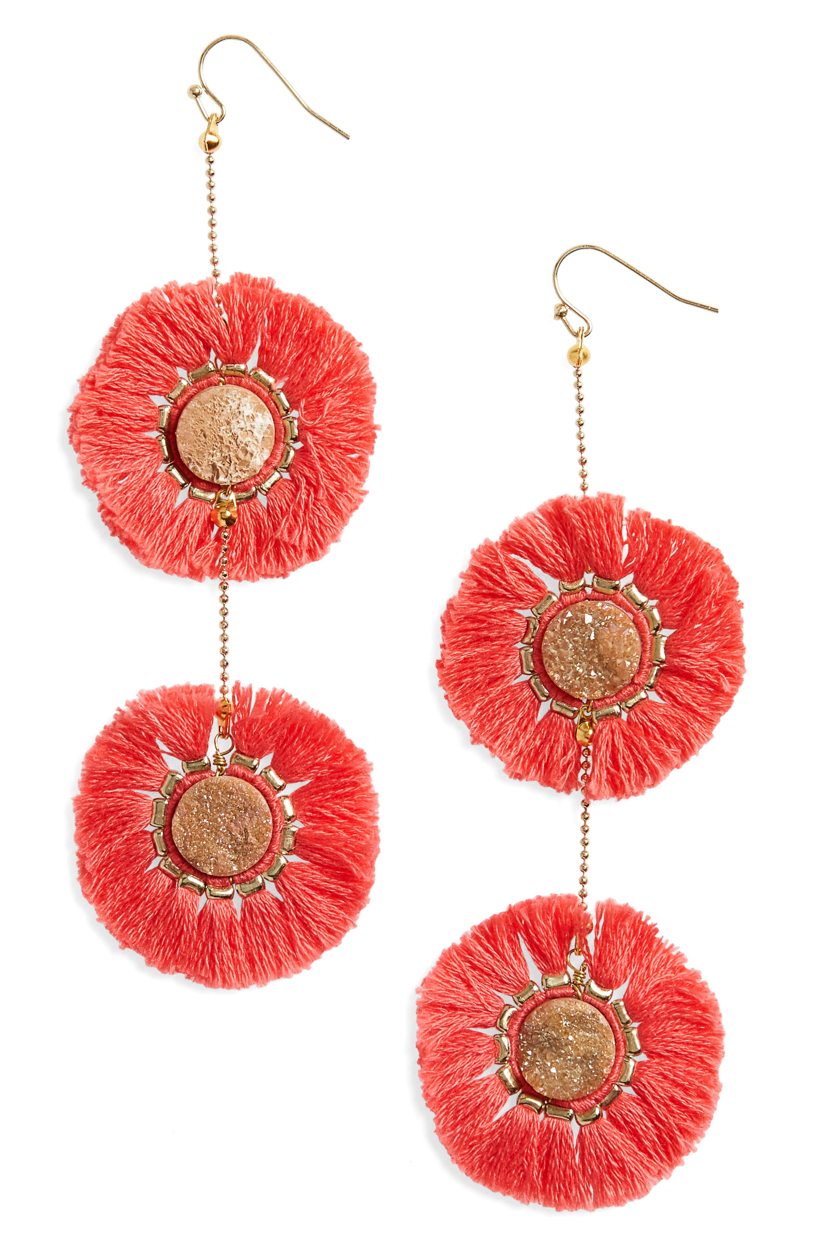 Fringe Circle Earrings,                         Main,                         color, Pink
