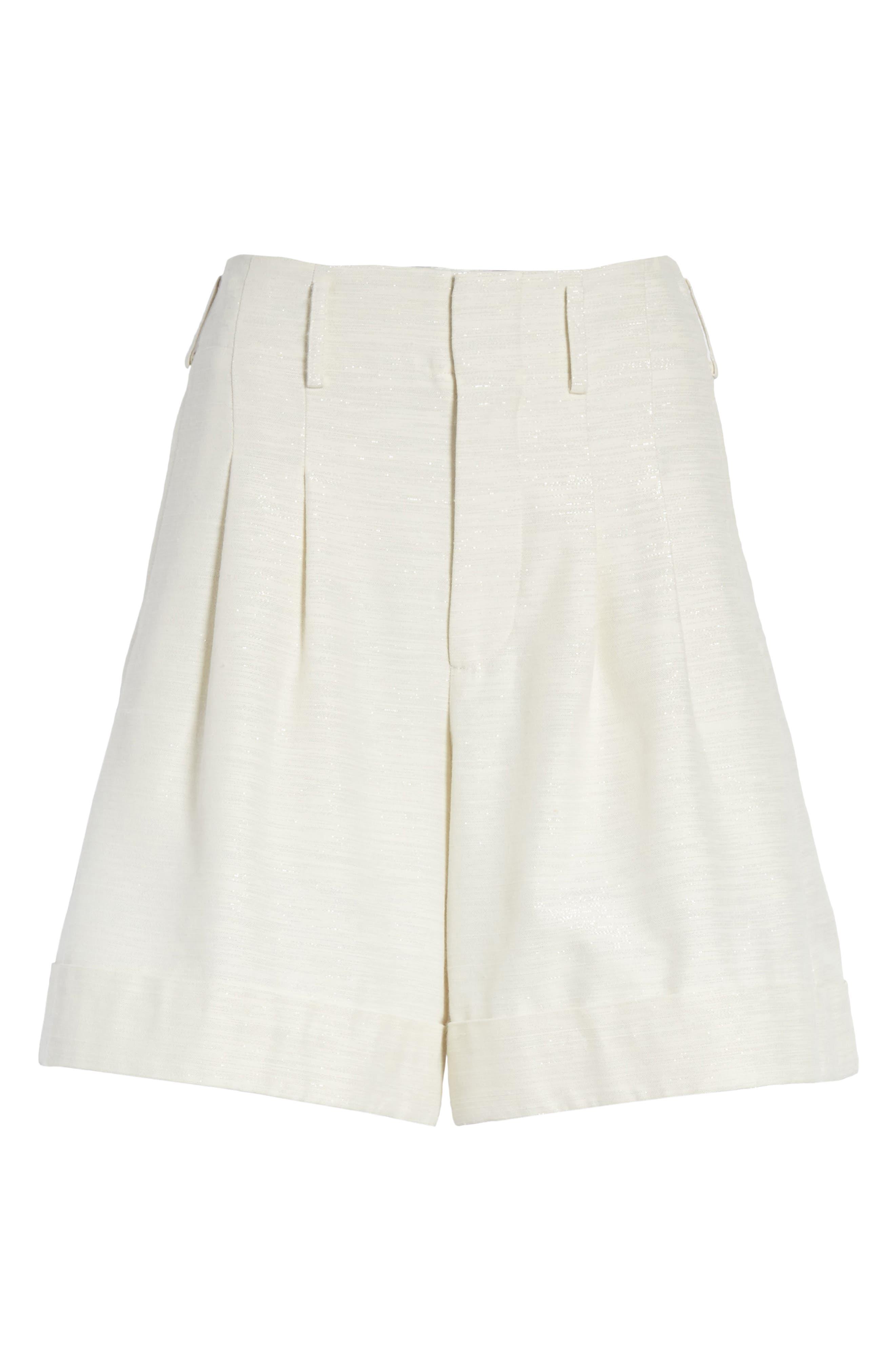 Sparkle Woven Wide Leg Shorts,                             Alternate thumbnail 6, color,                             Ivory