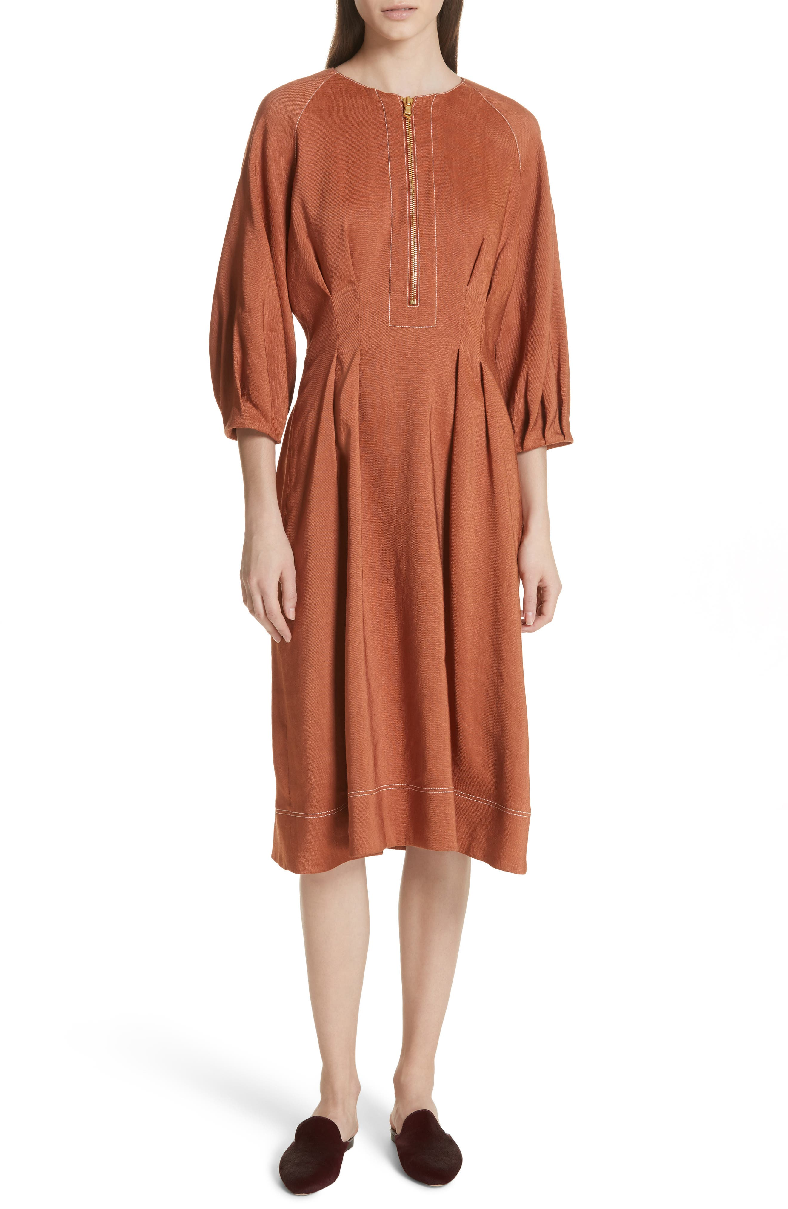 Claudia Linen Blend Midi Dress,                         Main,                         color, Terracotta