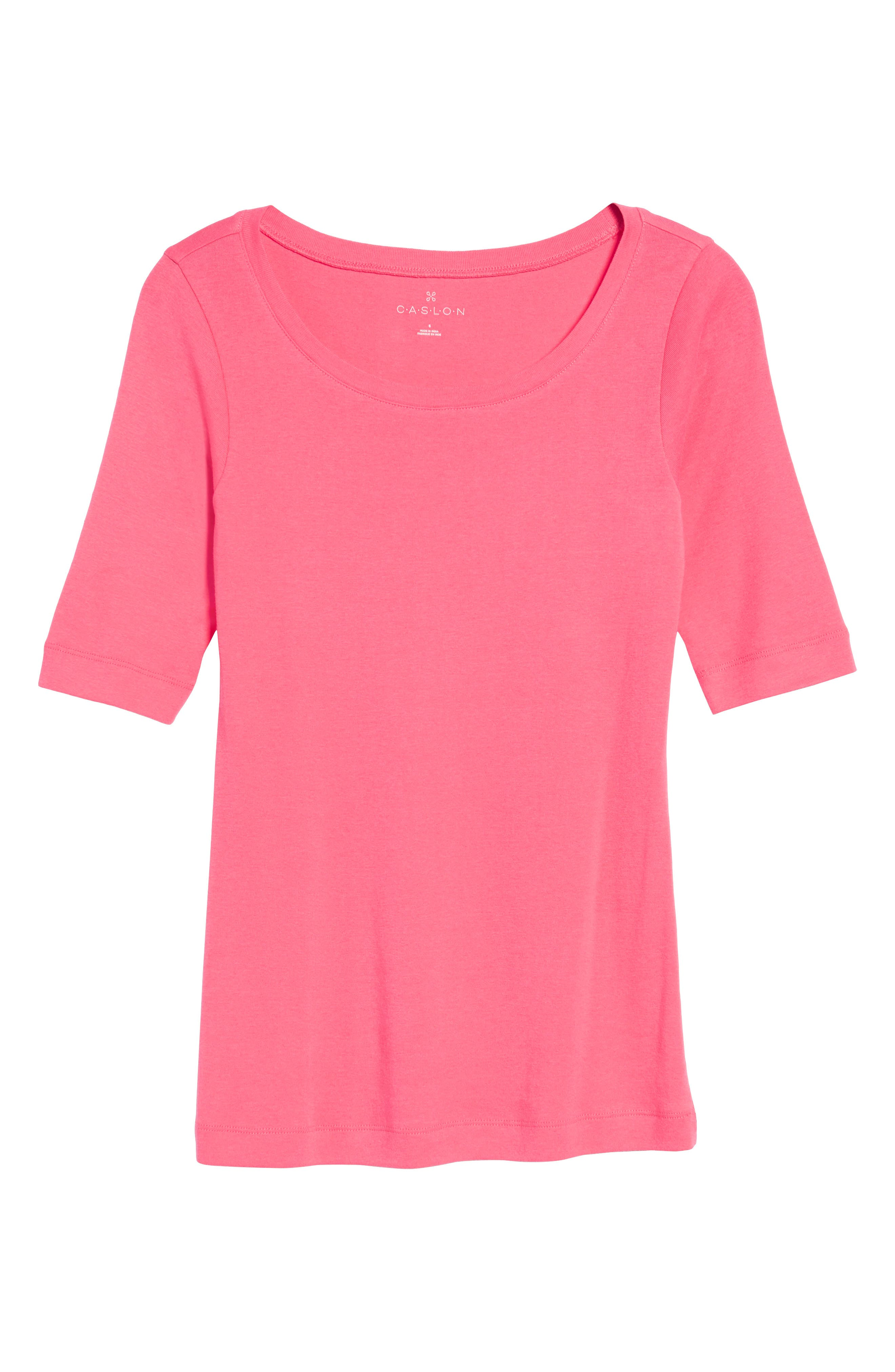 Ballet Neck Cotton & Modal Knit Elbow Sleeve Tee,                             Alternate thumbnail 6, color,                             Pink Ribbon