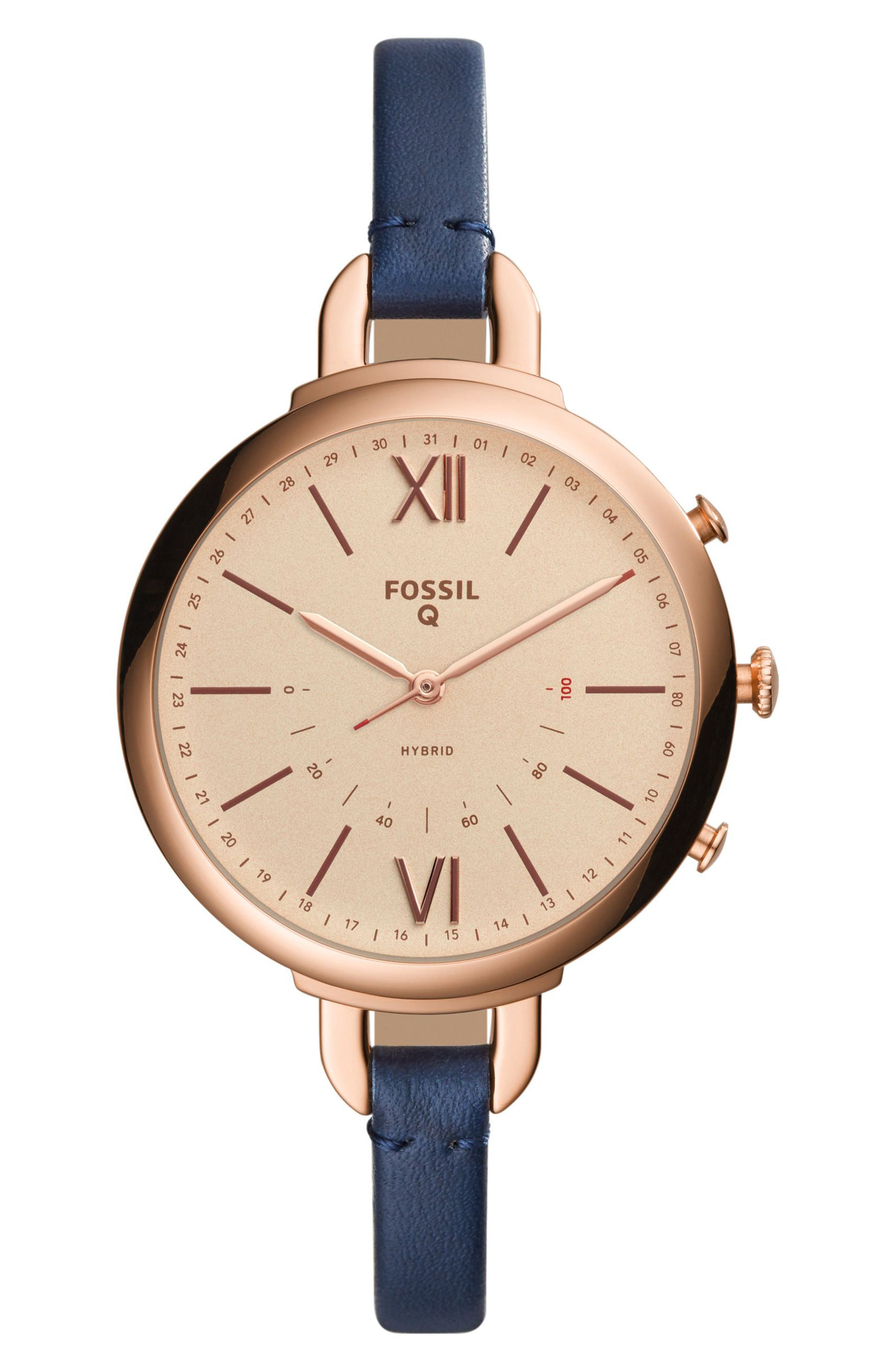 Fossil Q Annette Leather Strap Hybrid Smart Watch, 38mm