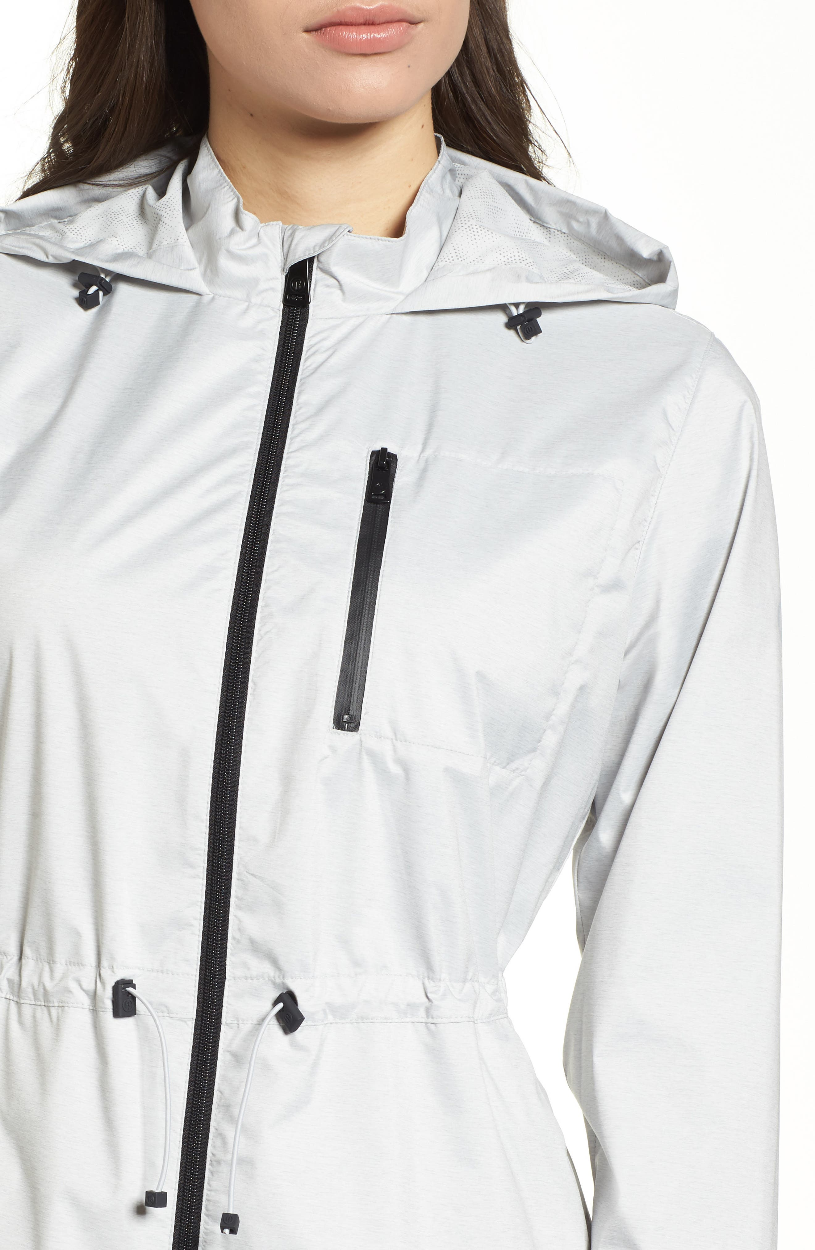 Microbreathable Hooded Water Resistant Jacket,                             Alternate thumbnail 4, color,                             Light Heather