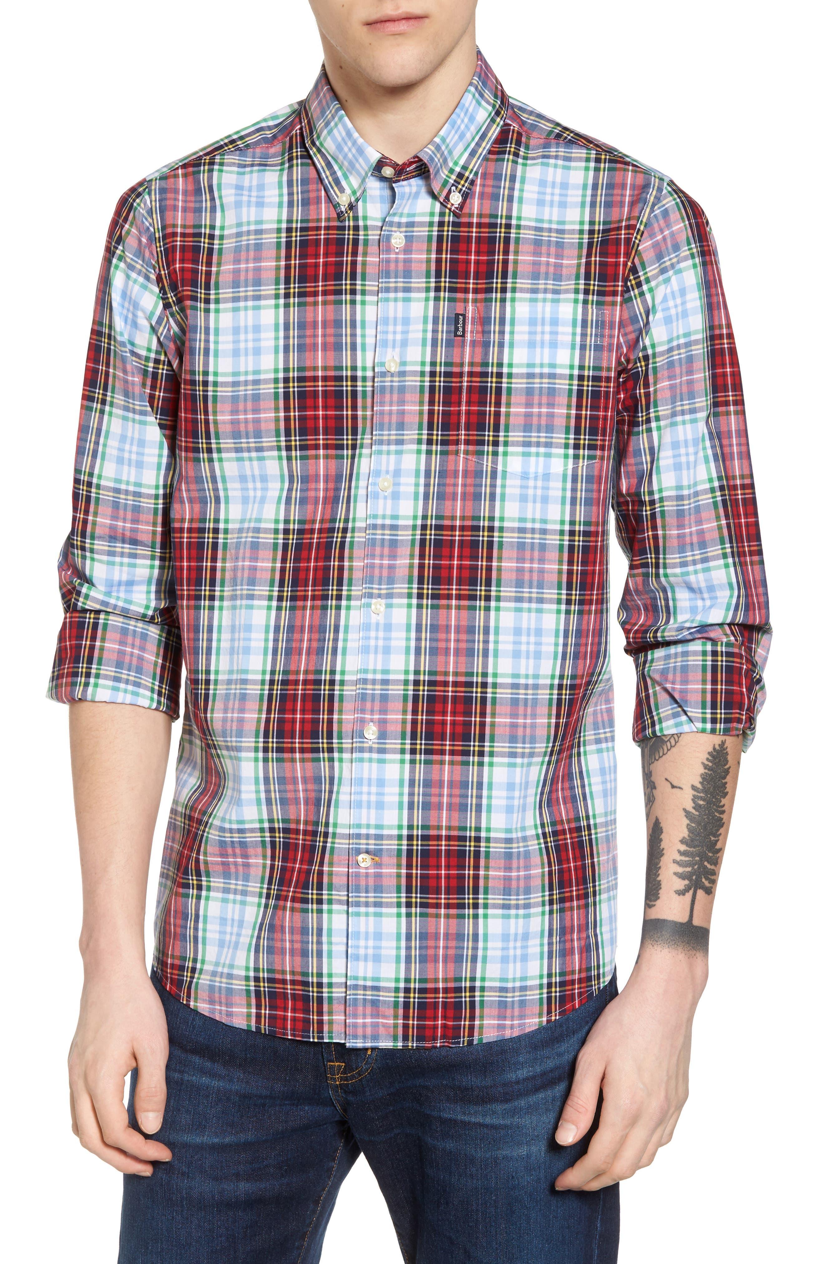 Jeff Trim Fit Plaid Sport Shirt,                         Main,                         color, Red
