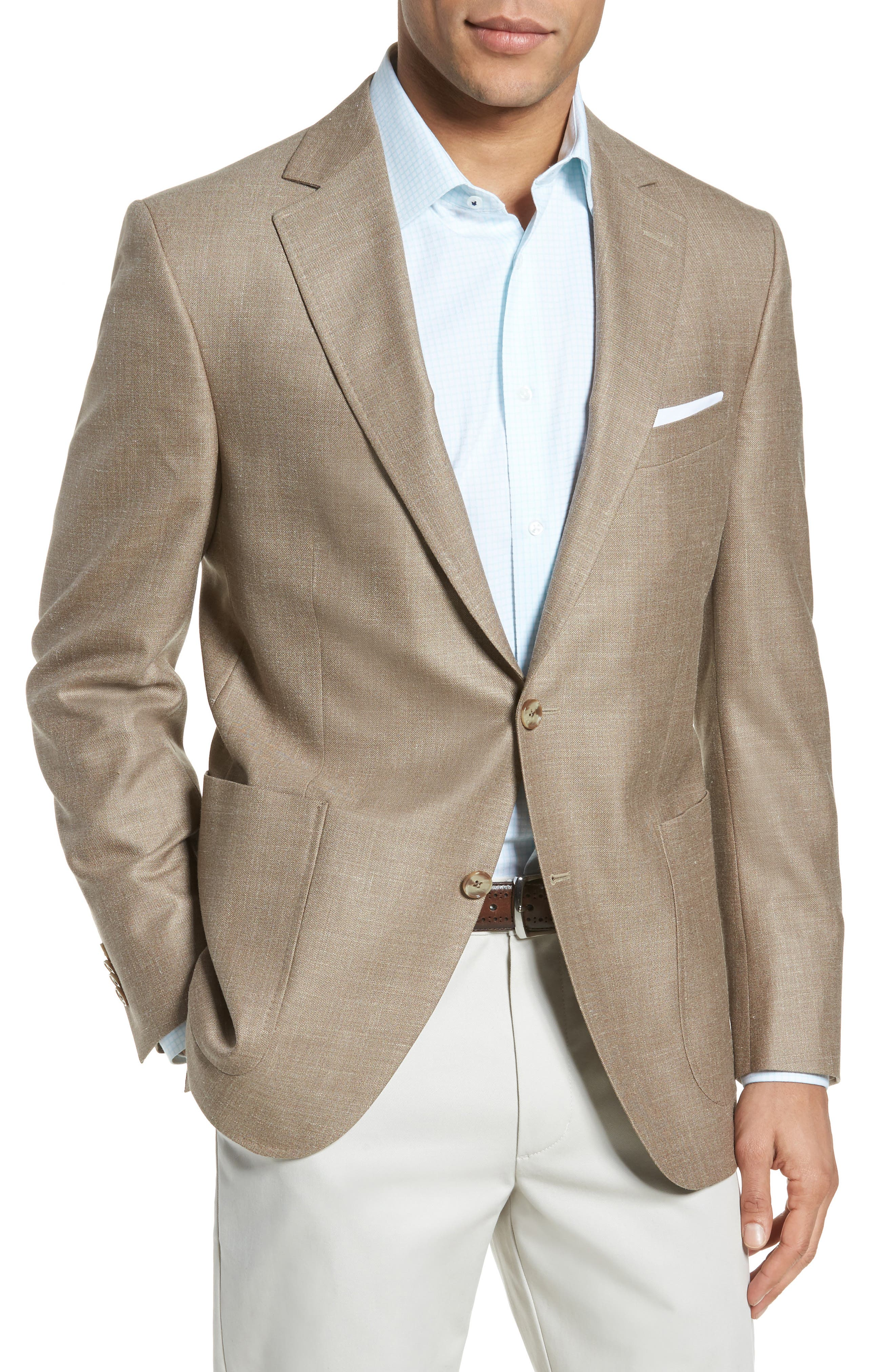 Classic Fit Wool Blend Blazer,                         Main,                         color, Tan