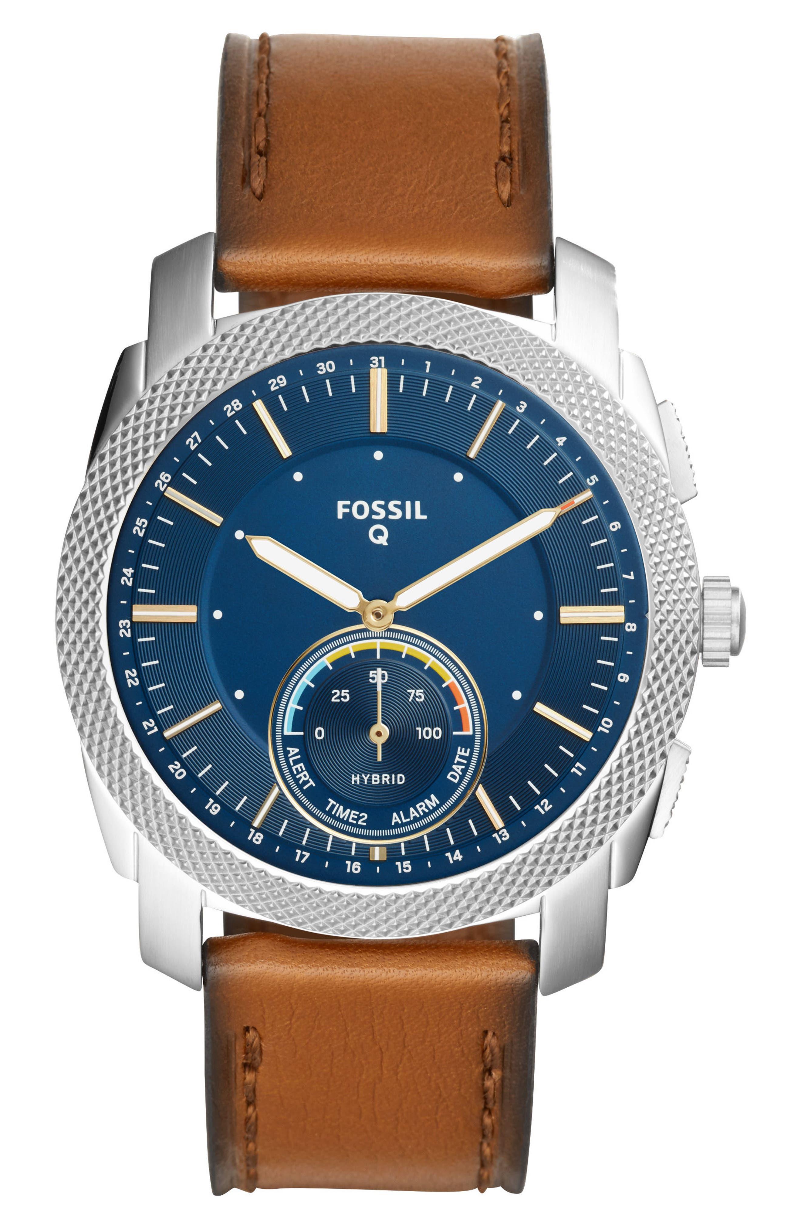 Main Image - Fossil Q Machine Leather Strap Hybrid Smart Watch, 45mm