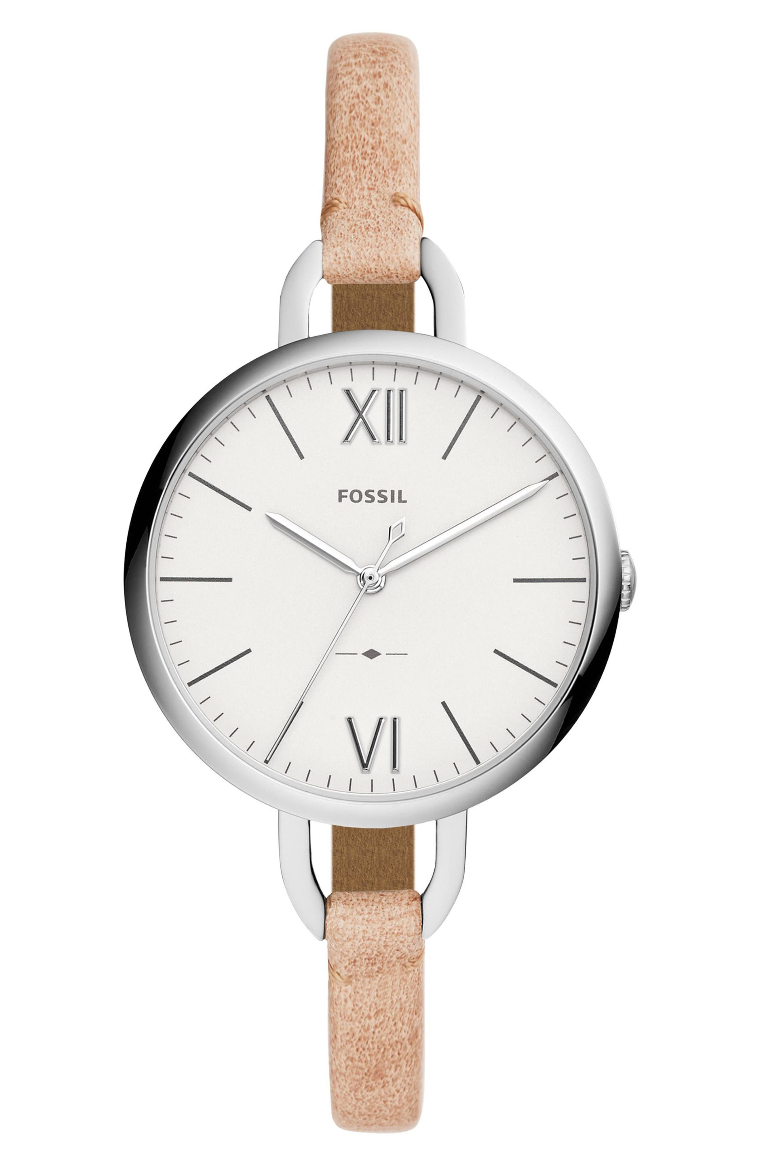 Annette Leather Strap Watch, 36mm,                         Main,                         color, Brown/ Silver
