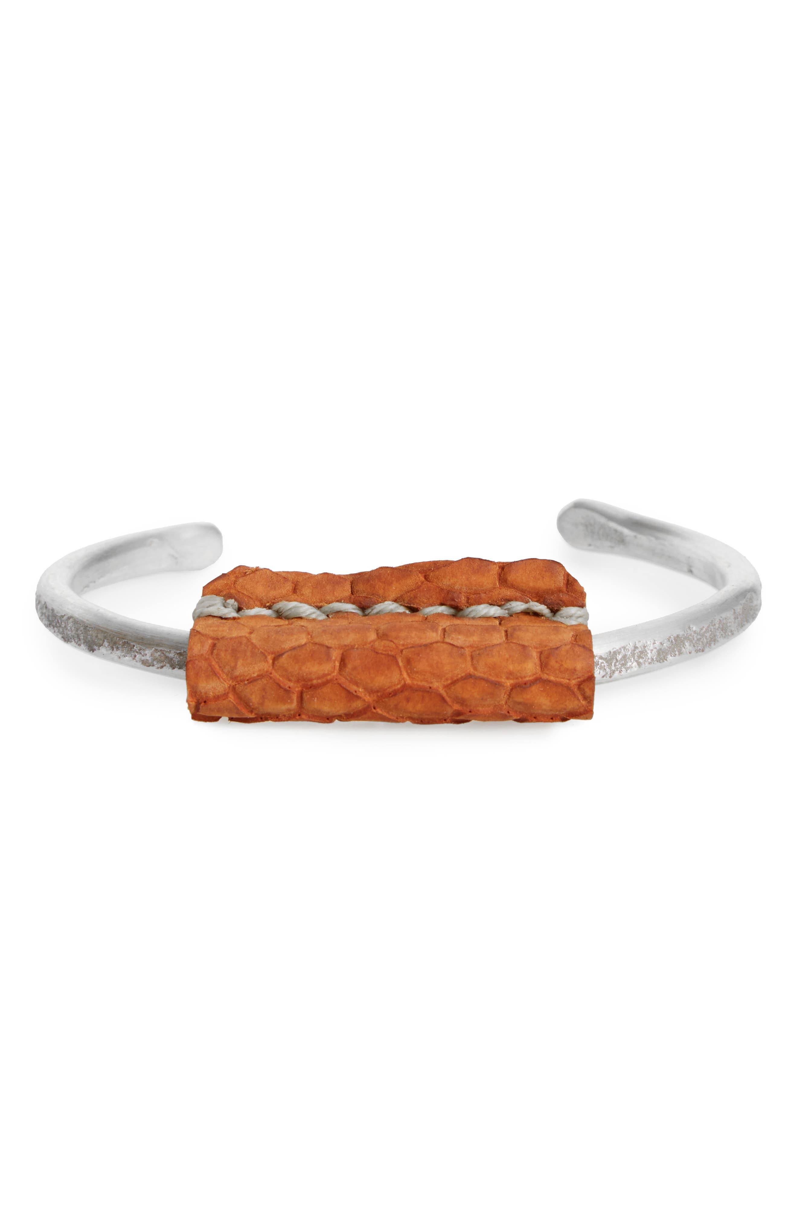 Cause & Effect Hammer Sterling Silver Cuff Bracelet,                             Main thumbnail 1, color,                             Silver/ Tan