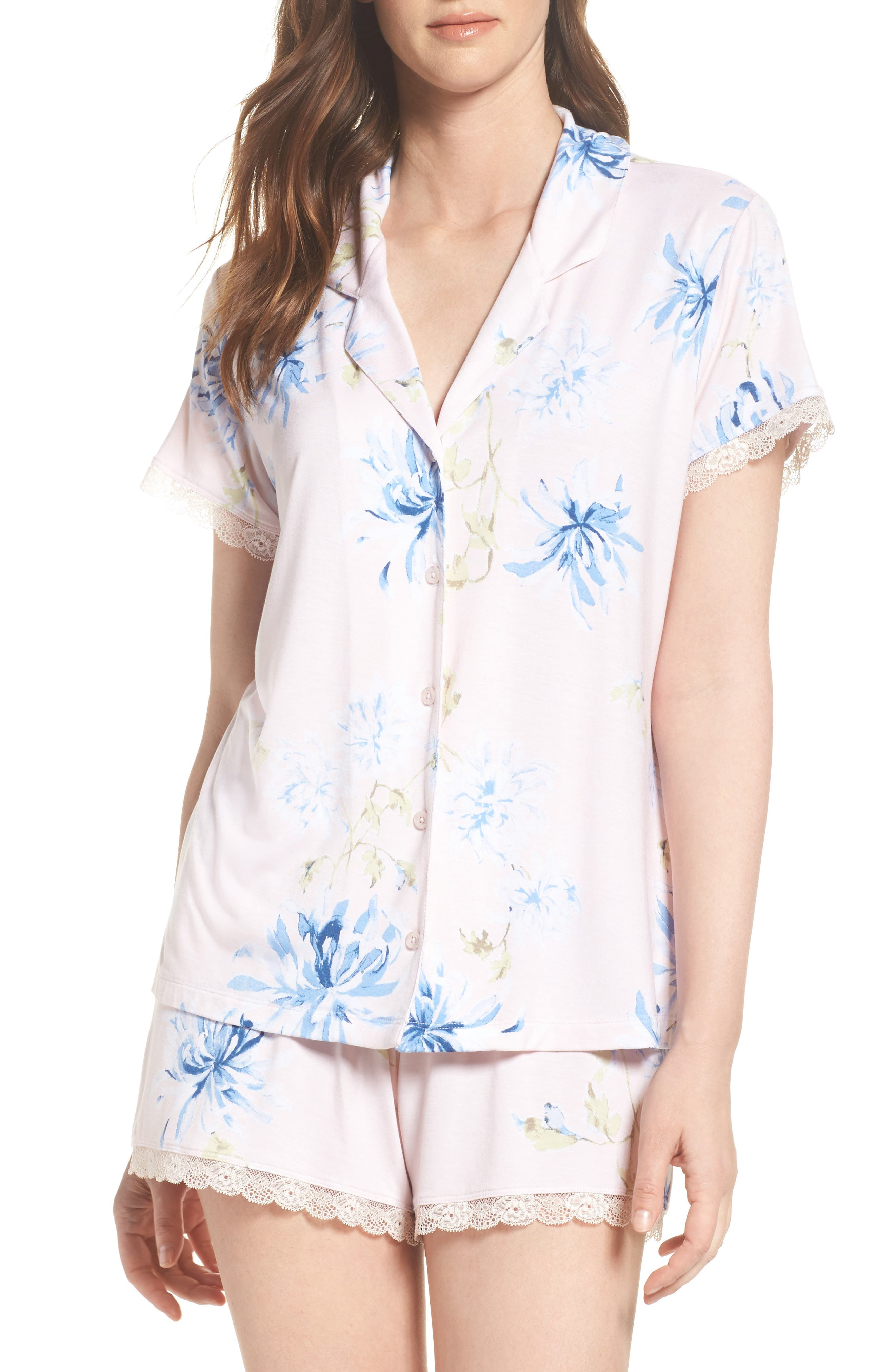 Moonlight Short Pajamas,                         Main,                         color, Pink Frosty Spring Dream