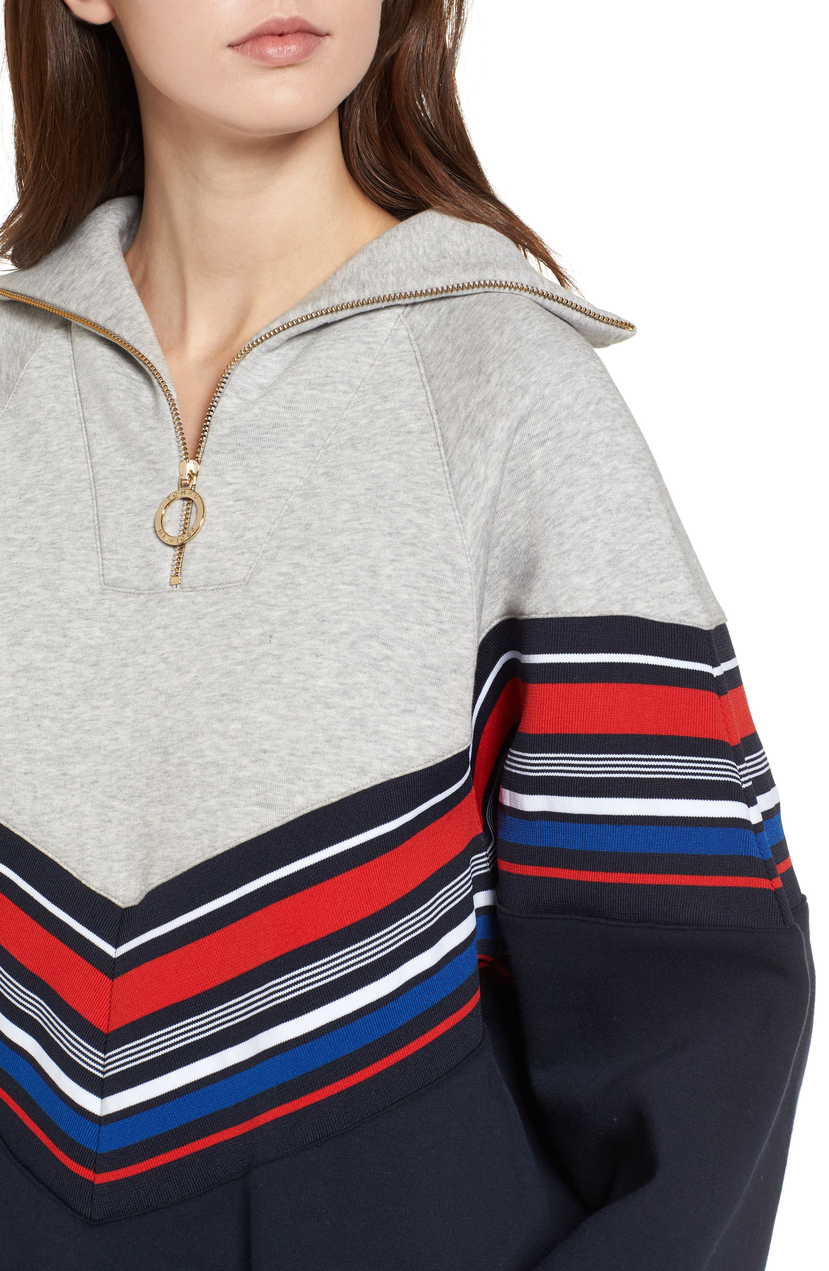 x Gigi Hadid Racing Sweatshirt Dress,                             Alternate thumbnail 4, color,                             Midnight/ Hthr
