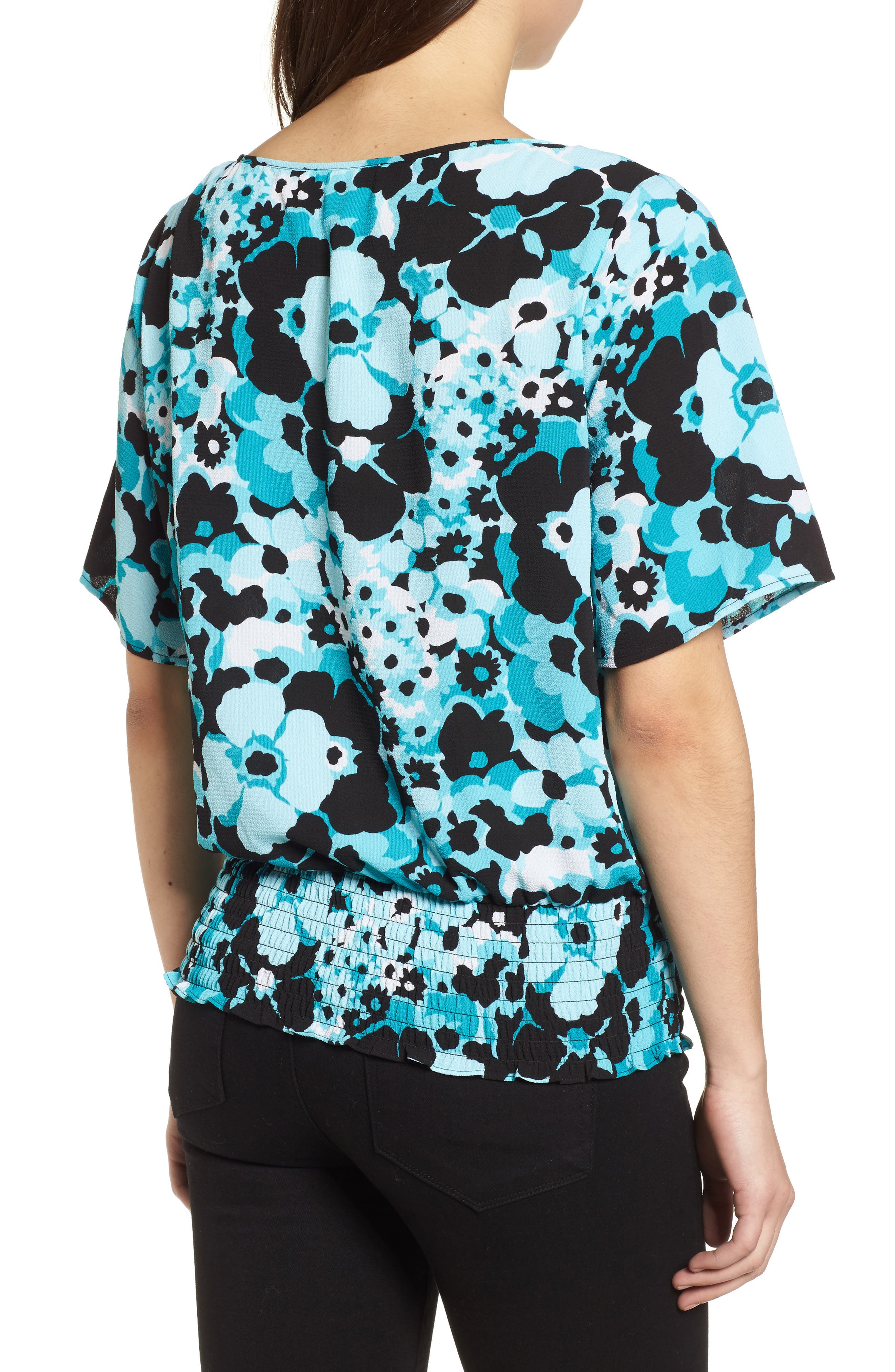 Springtime Floral Kimono Top,                             Alternate thumbnail 2, color,                             Tile Blue/ Black Multi