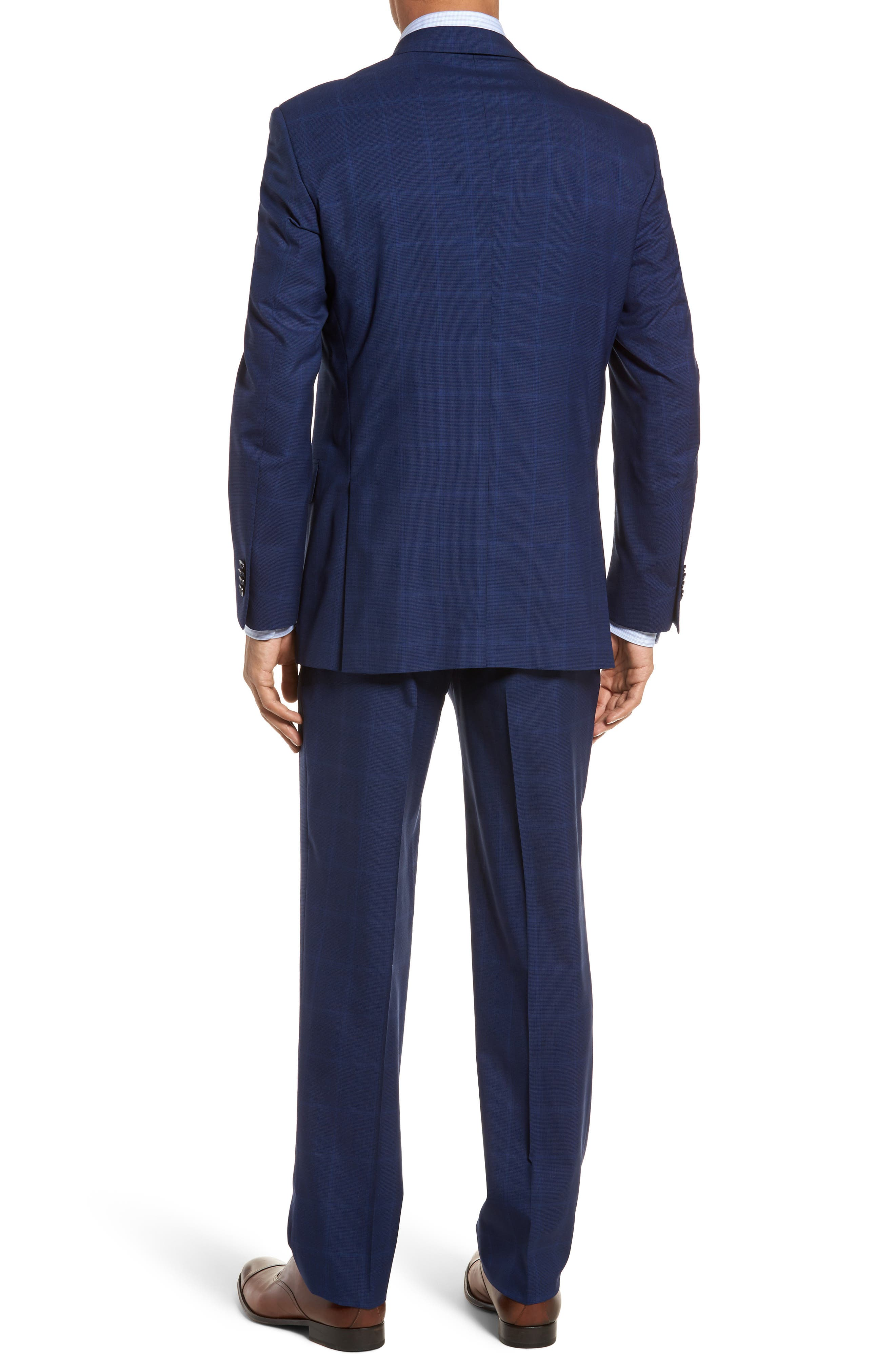 Classic Fit Windowpane Wool Suit,                             Alternate thumbnail 2, color,                             Navy