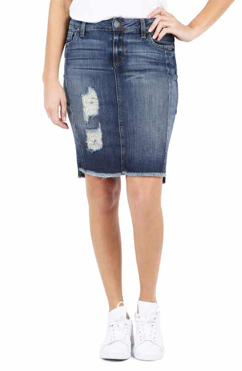 KUT From the Kloth Ripped High/Low Denim Skirt