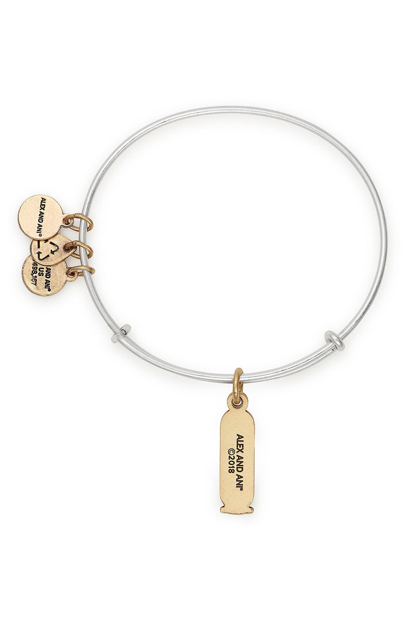 Strength Two-Tone Adjustable Wire Bangle,                             Alternate thumbnail 2, color,                             Gold/ Silver