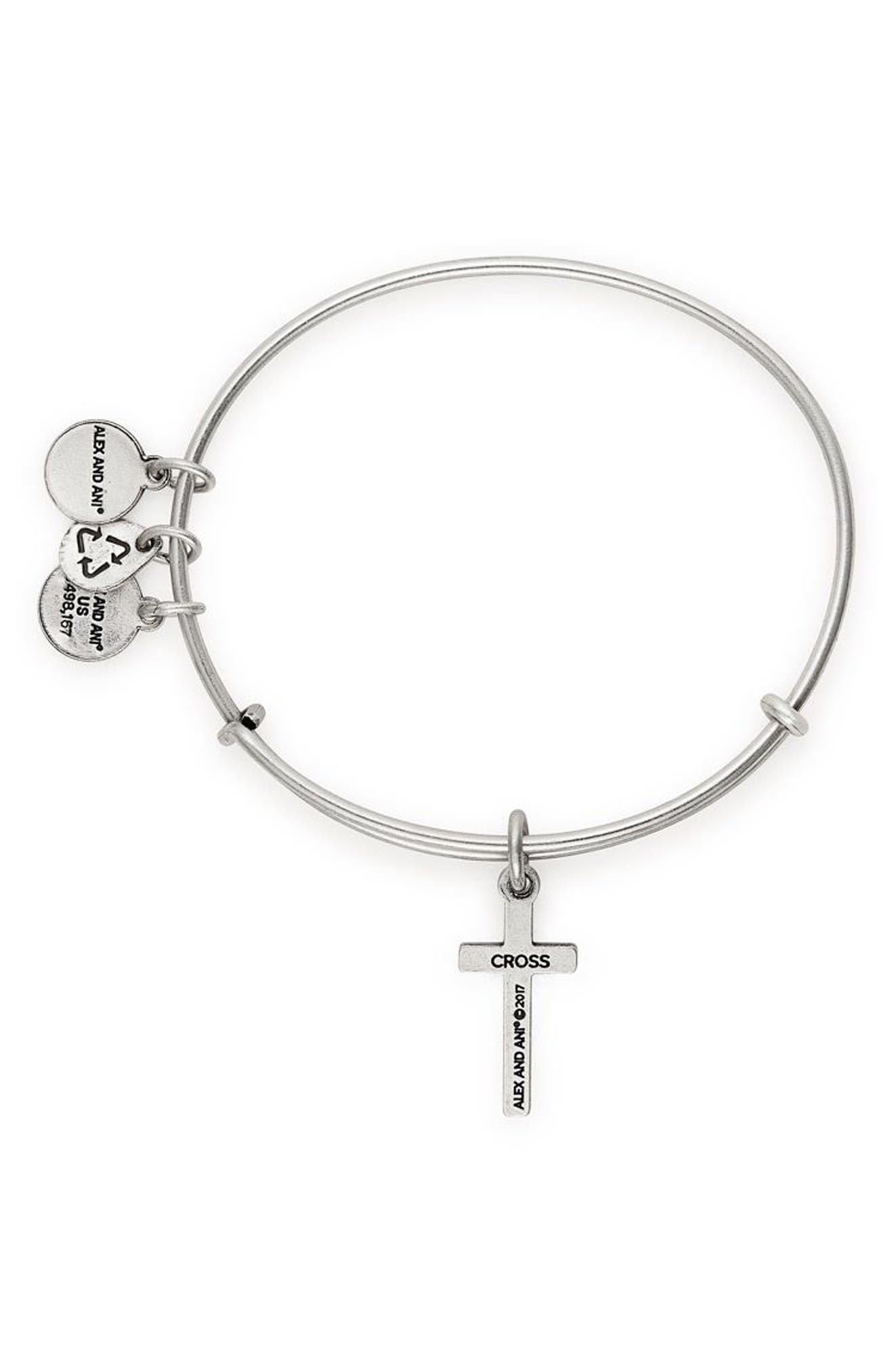 Cross Bangle,                             Alternate thumbnail 2, color,                             Silver