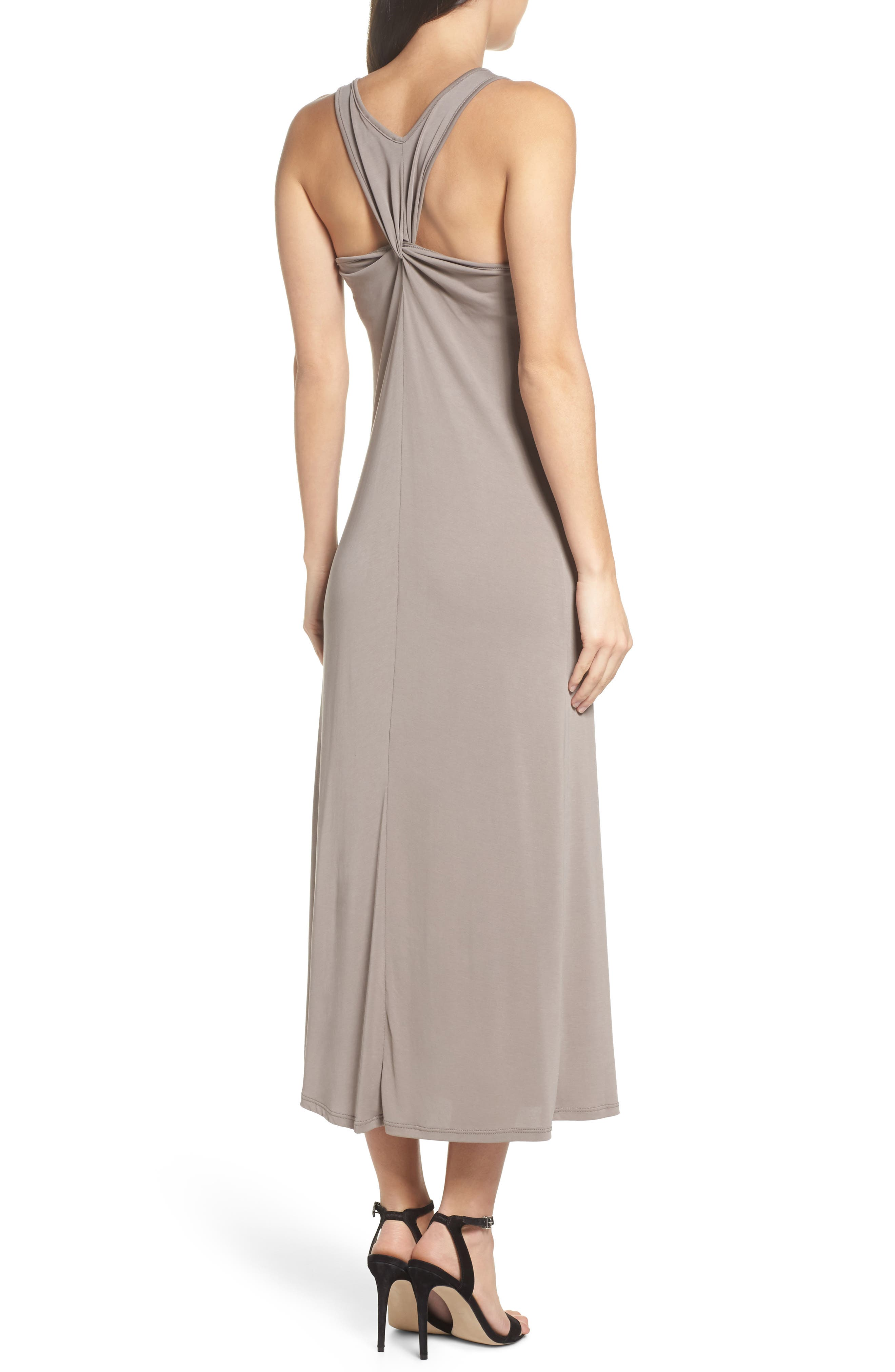 Knot Back Maxi Dress,                             Alternate thumbnail 2, color,                             Mocha