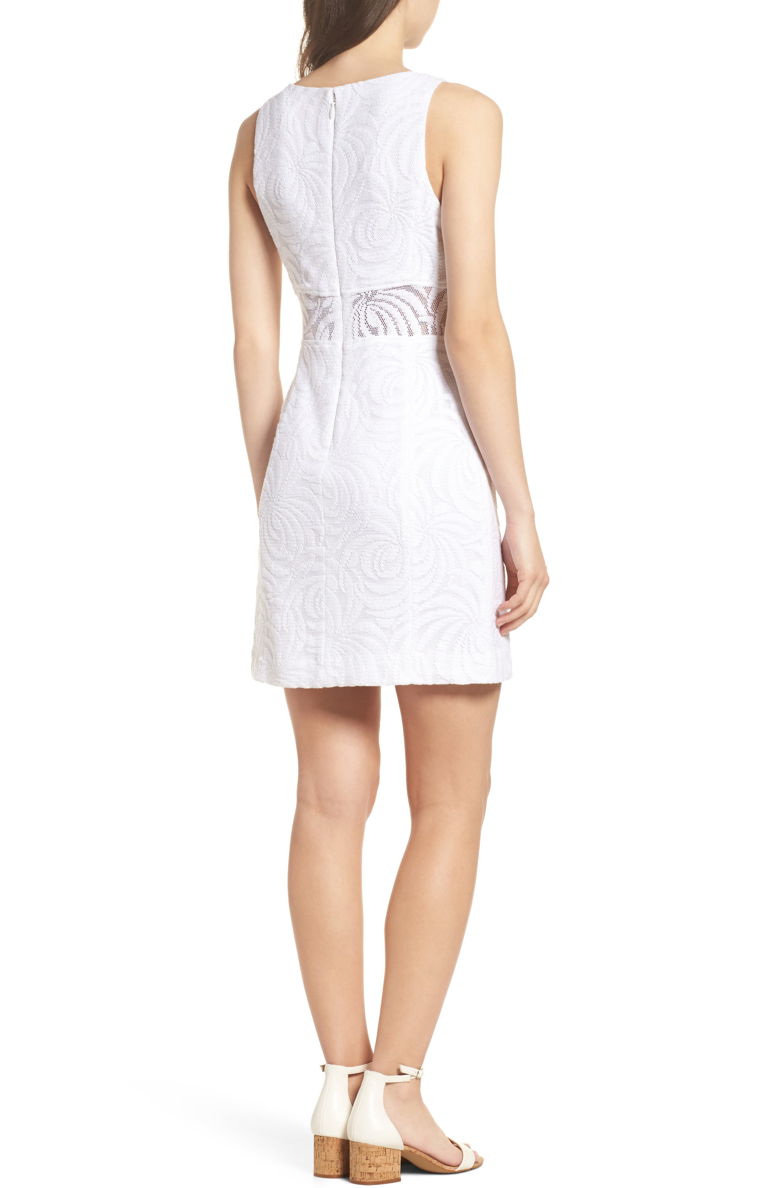 Blakely Lace Shift Dress,                             Alternate thumbnail 2, color,                             Resort White Sea Swirling Lace