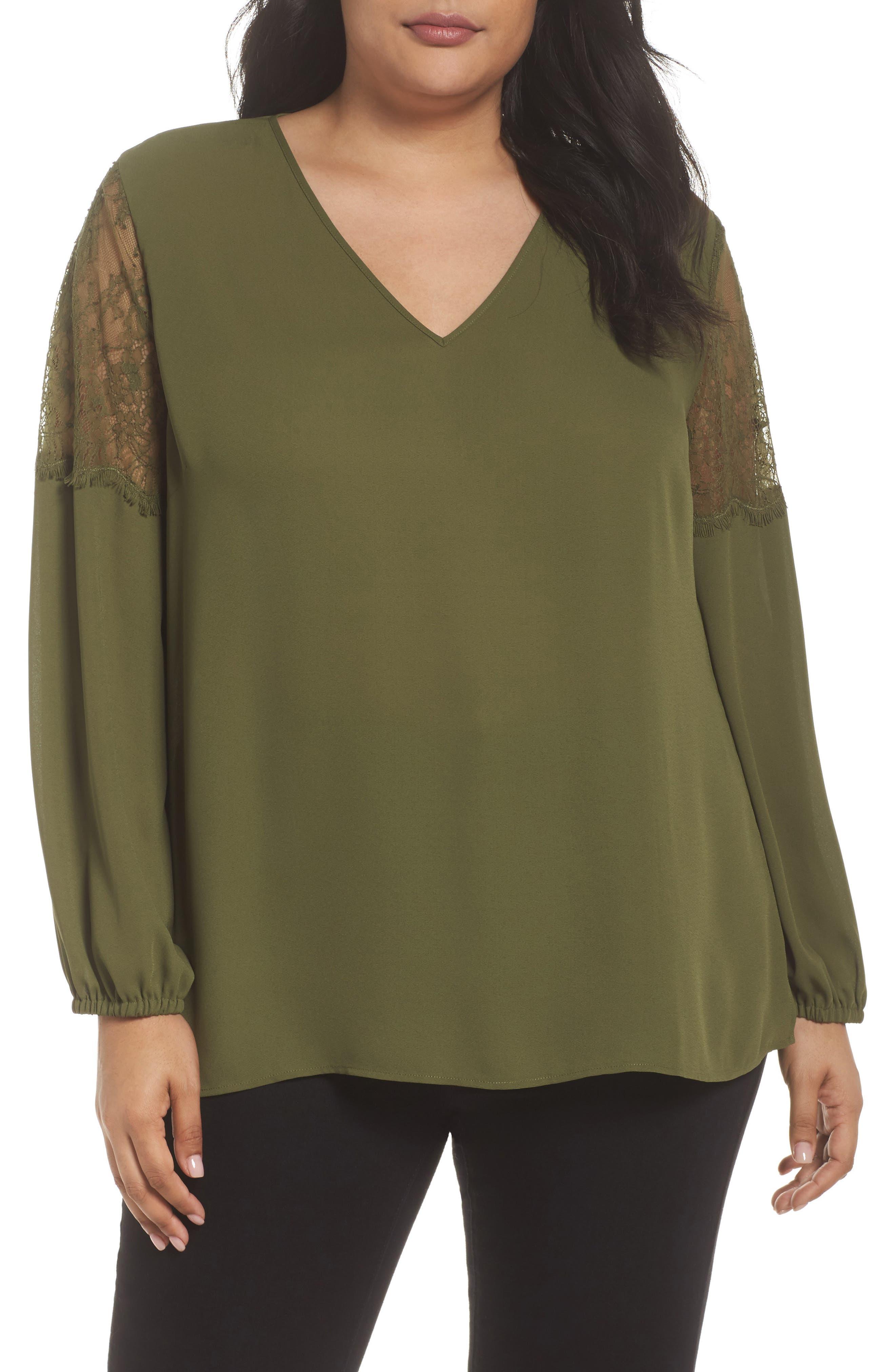 Sejour Lace Inset Sleeve Top (Plus Size)