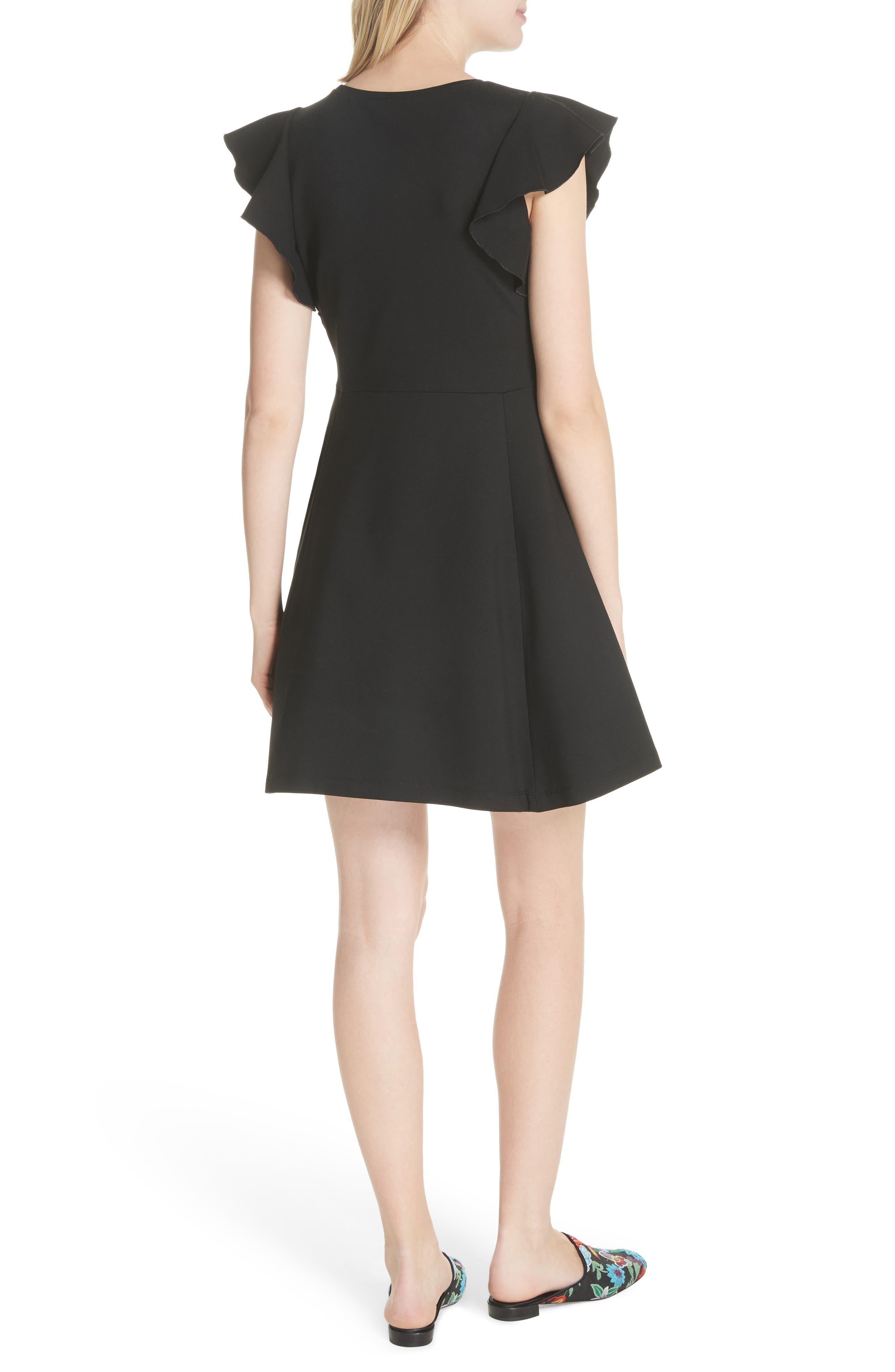 fluttter sleeve ponte knit dress,                             Alternate thumbnail 2, color,                             Black