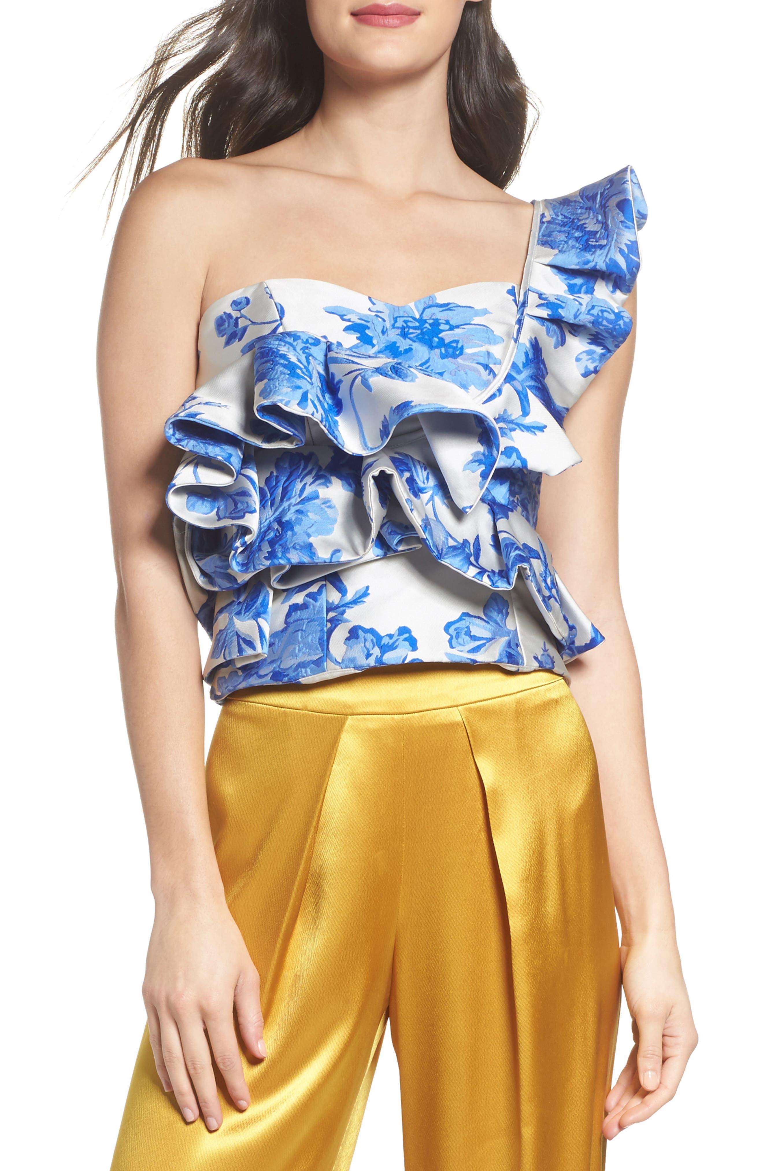 Mestiza Katalina Floral Ruffle One-Shoulder Top,                         Main,                         color, Porcelain Blue