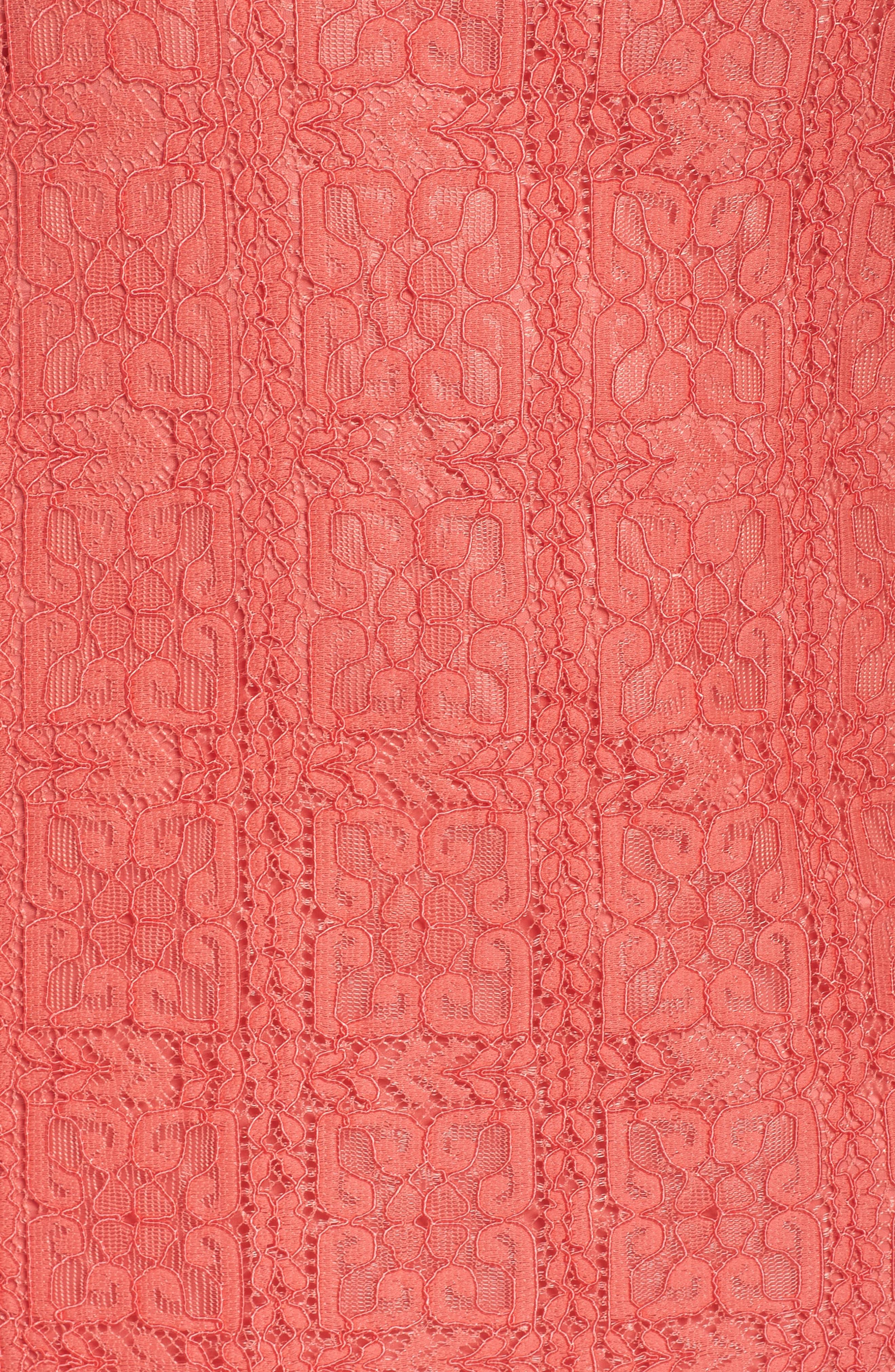 Marni Lace Shift Dress,                             Alternate thumbnail 5, color,                             Cruise Coral