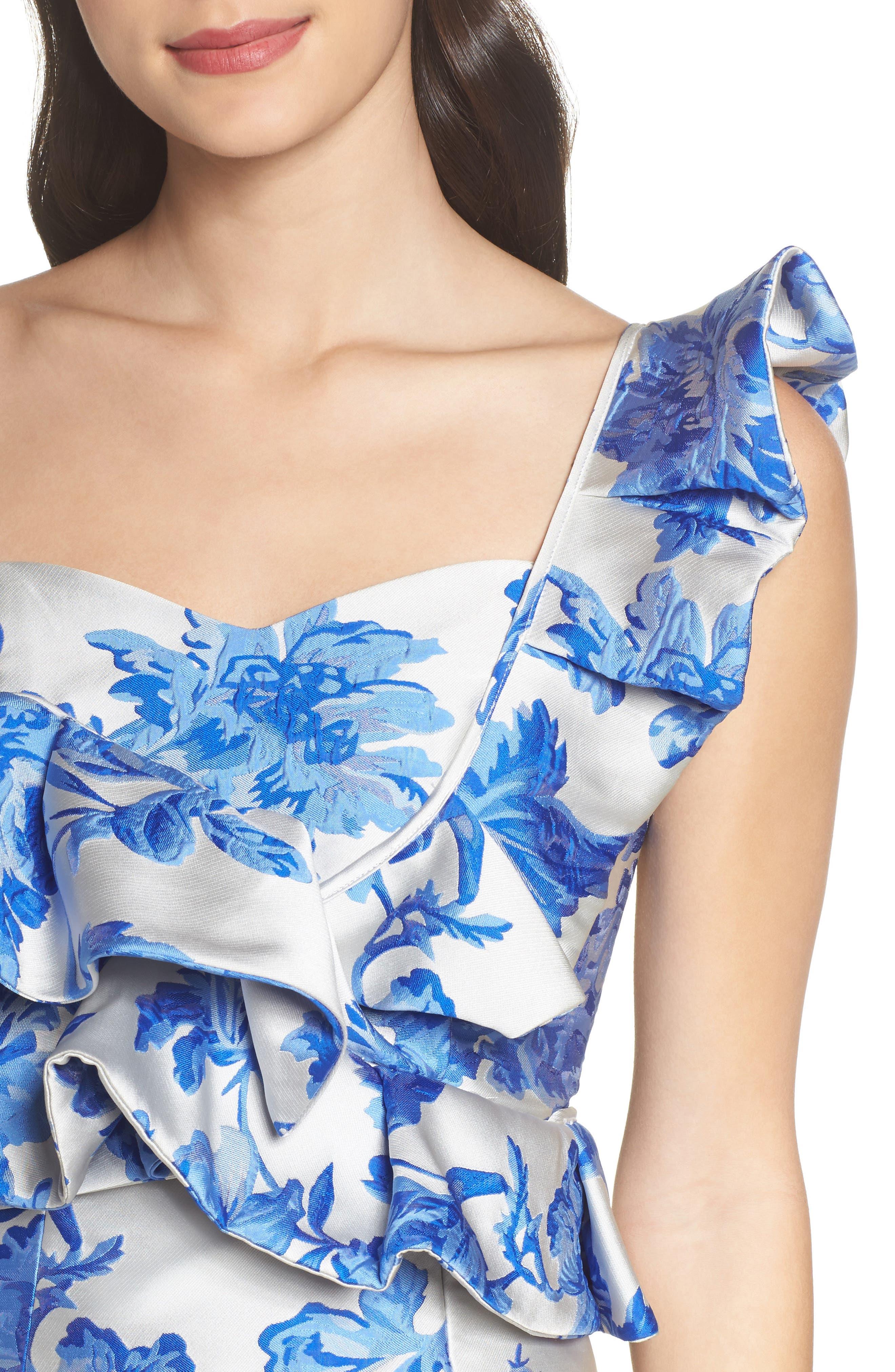 Mestiza Katalina Floral Ruffle One-Shoulder Top,                             Alternate thumbnail 4, color,                             Porcelain Blue