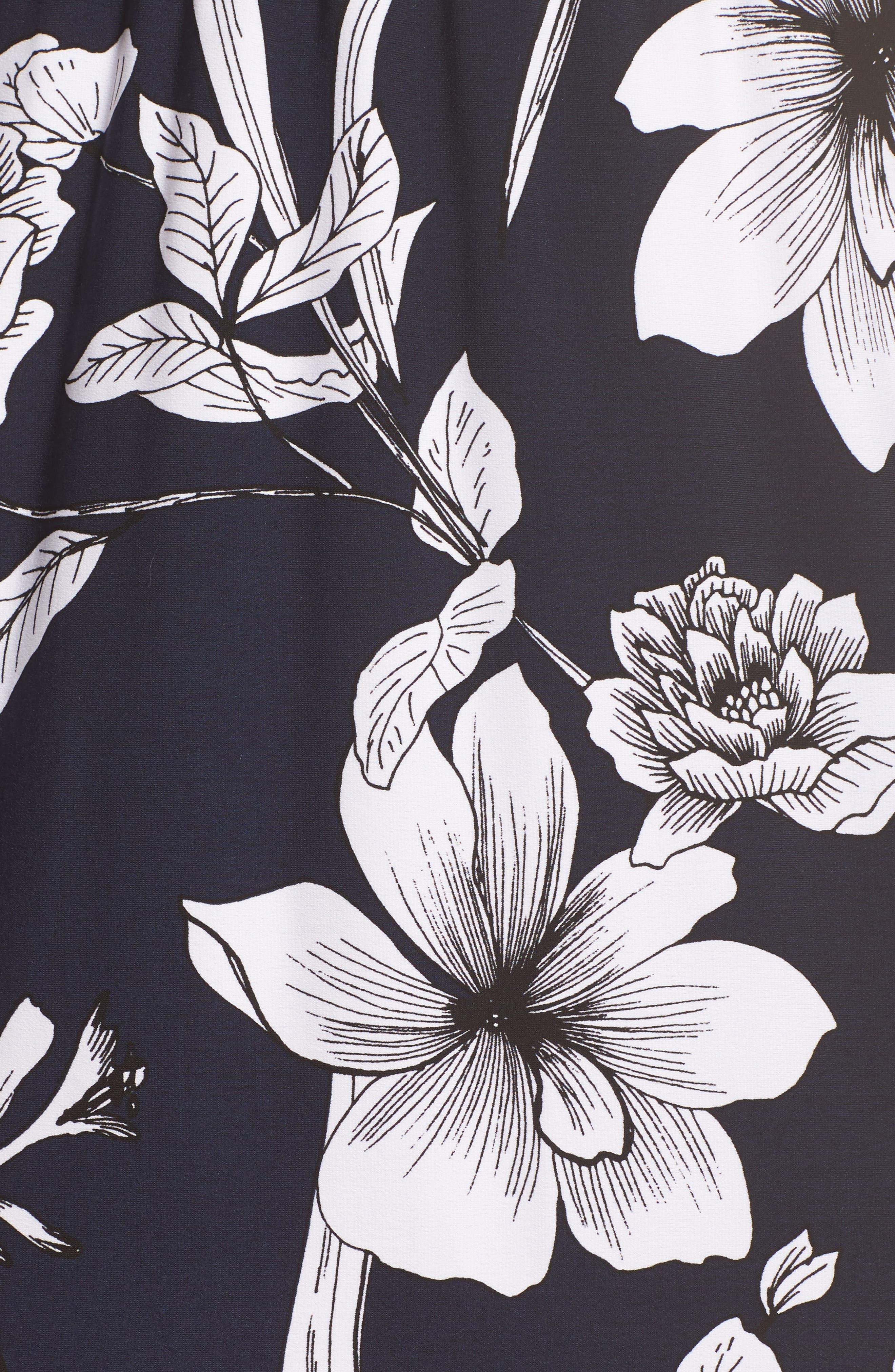 Surplice Blouson Dress,                             Alternate thumbnail 5, color,                             Navy/ Pink