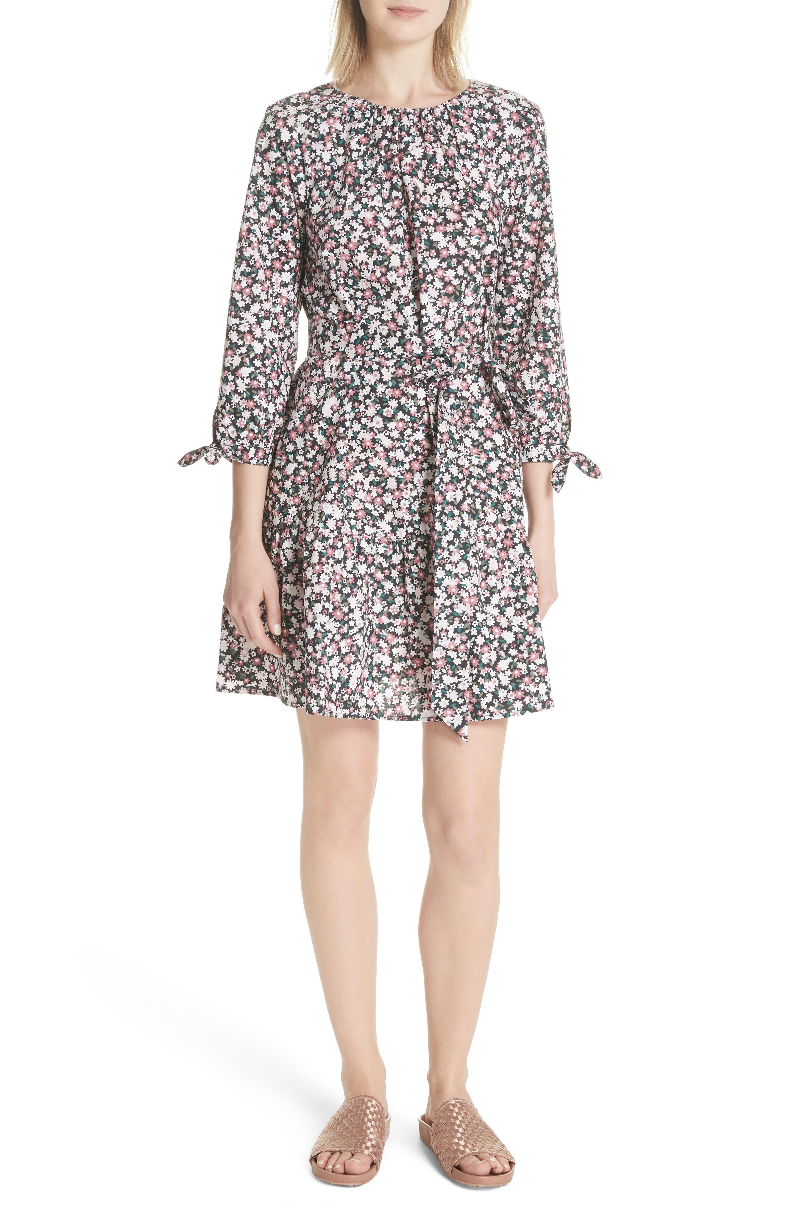 wildflower poplin dress,                         Main,                         color, Black