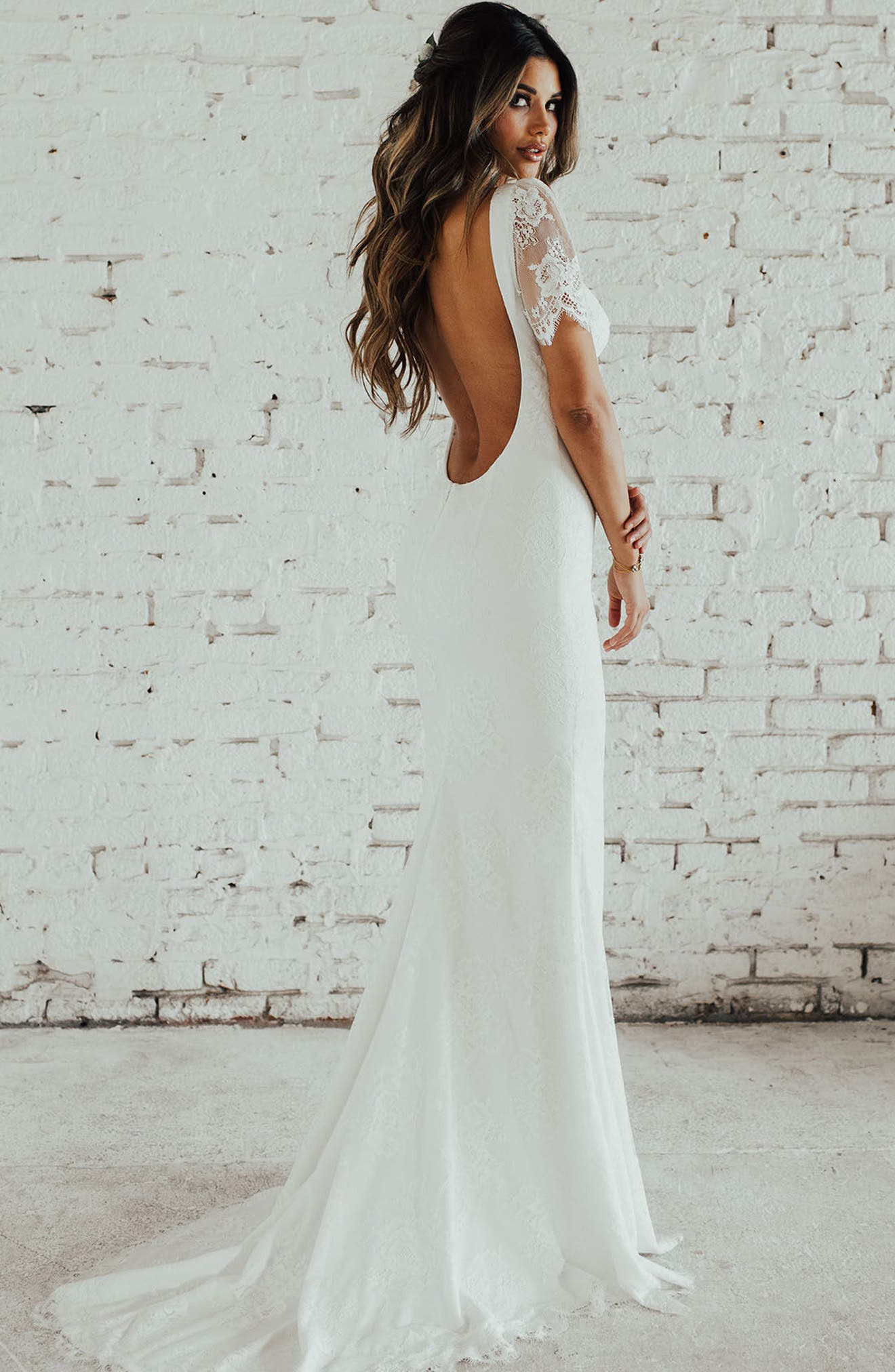 Malaga Lace Trumpet Gown,                             Alternate thumbnail 3, color,                             Ivory/ Ivory