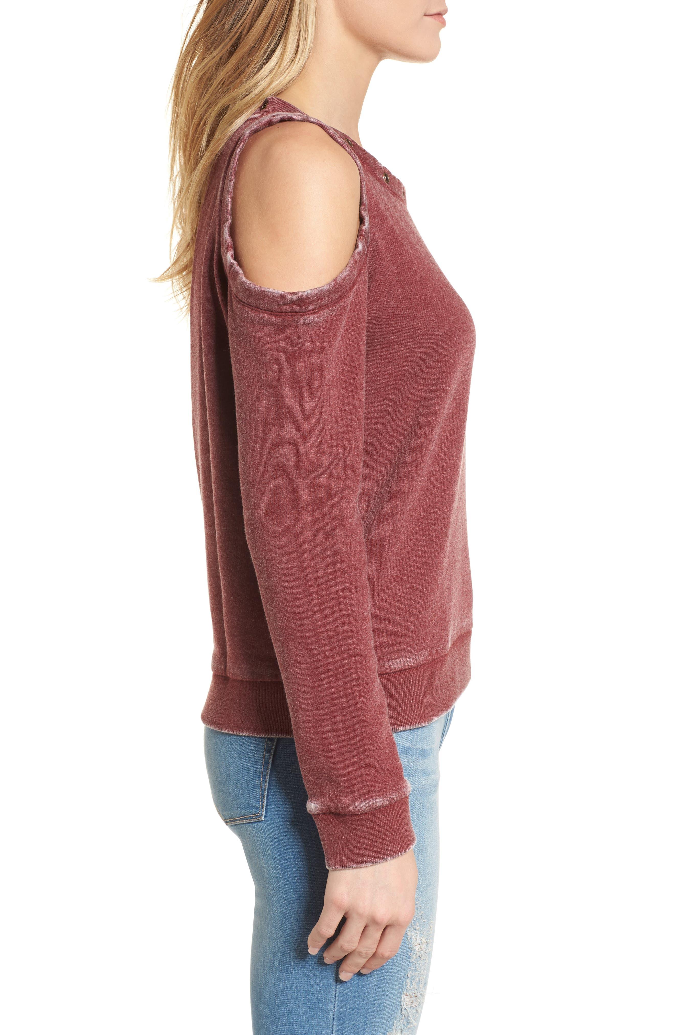 Cold Shoulder Sweatshirt,                             Alternate thumbnail 3, color,                             Burgundy